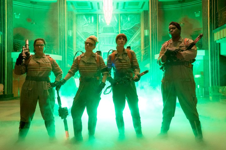 Melissa McCarthy as Abby, Kate McKinnon as Holtzmann, Kristen Wiig as Erin and Leslie Jones as Patty in Columbia Pictures' Ghostbusters.