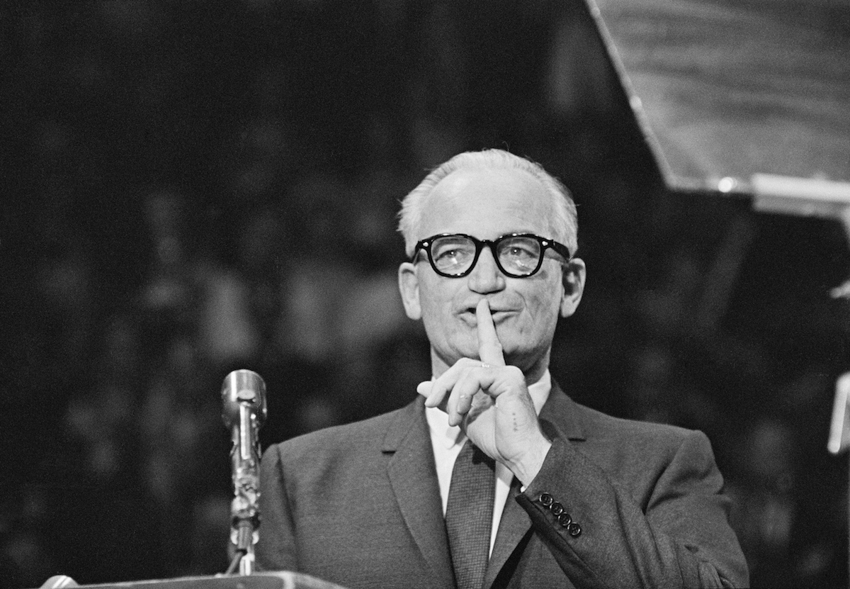 Barry Goldwater speaking at an election rally in Madison Square Garden, New York City, Oct. 28, 1964.