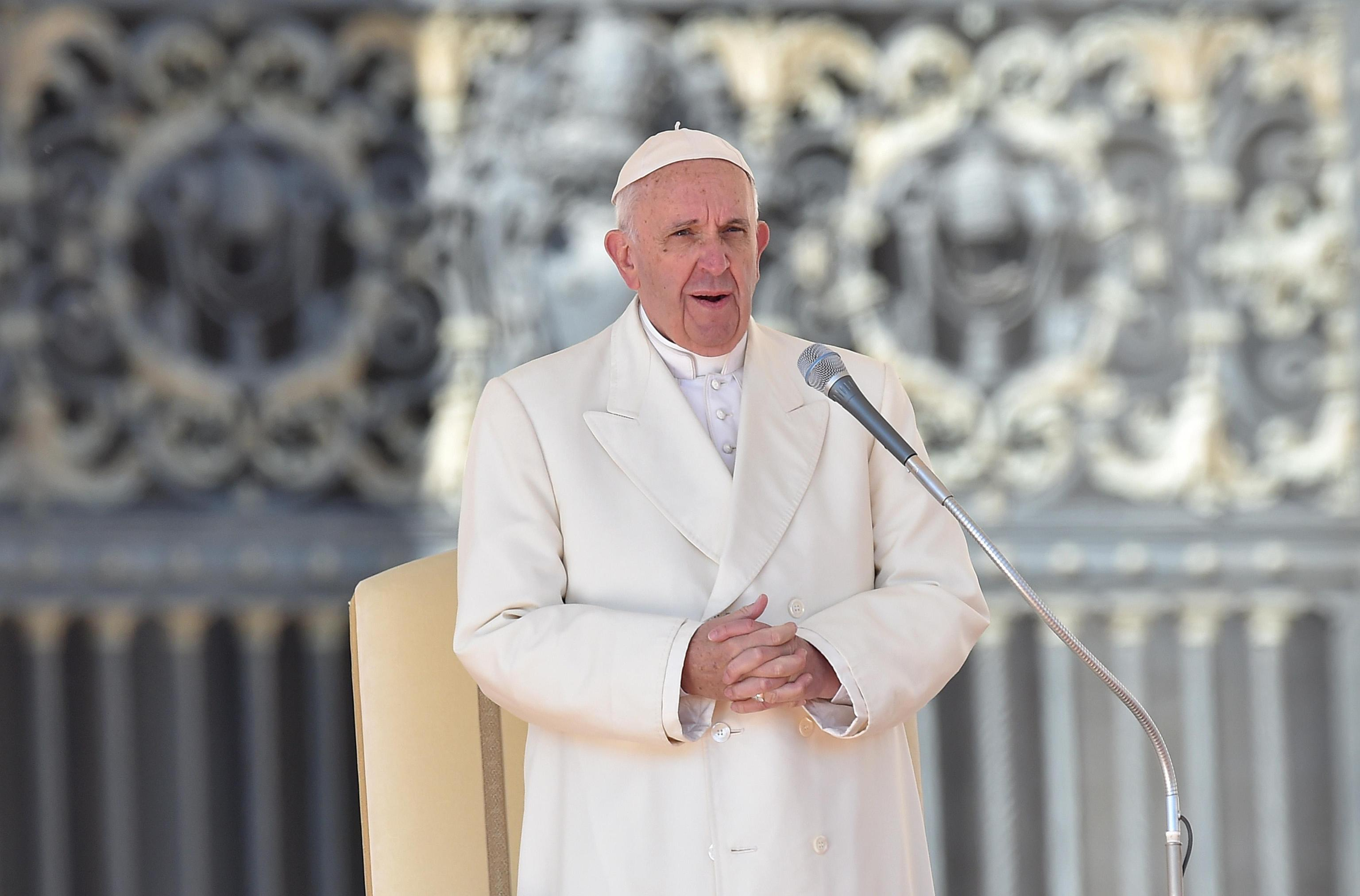 Pope Francis leads the weekly general audience in Saint Peters Square, Vatican City, March 2, 2016.