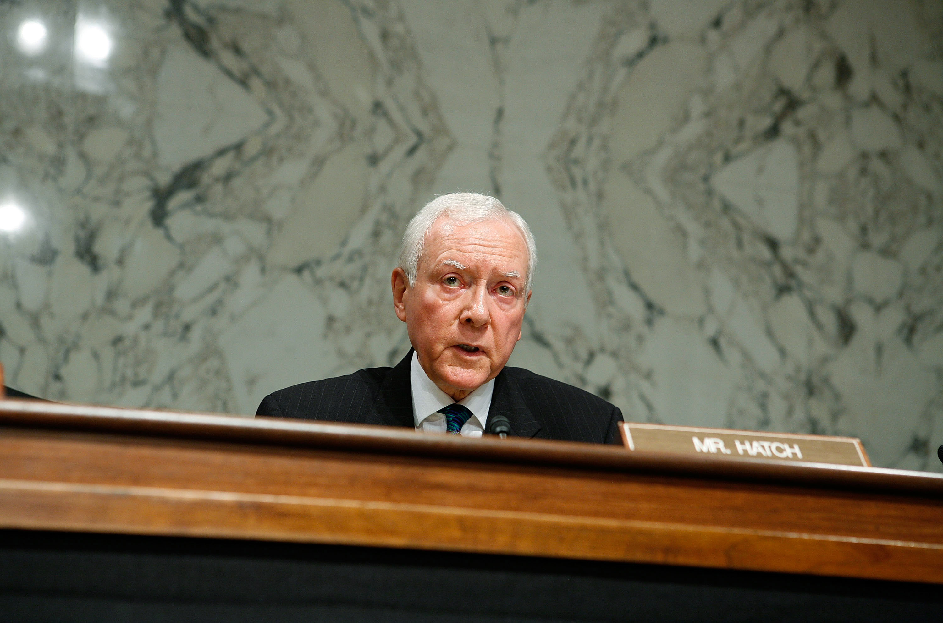 U.S. Sen. Orrin Hatch (R-UT) speaks during a mark up hearing before the Senate Finance Committee on Capitol Hill in Washington, DC., on Sept. 23, 2009.