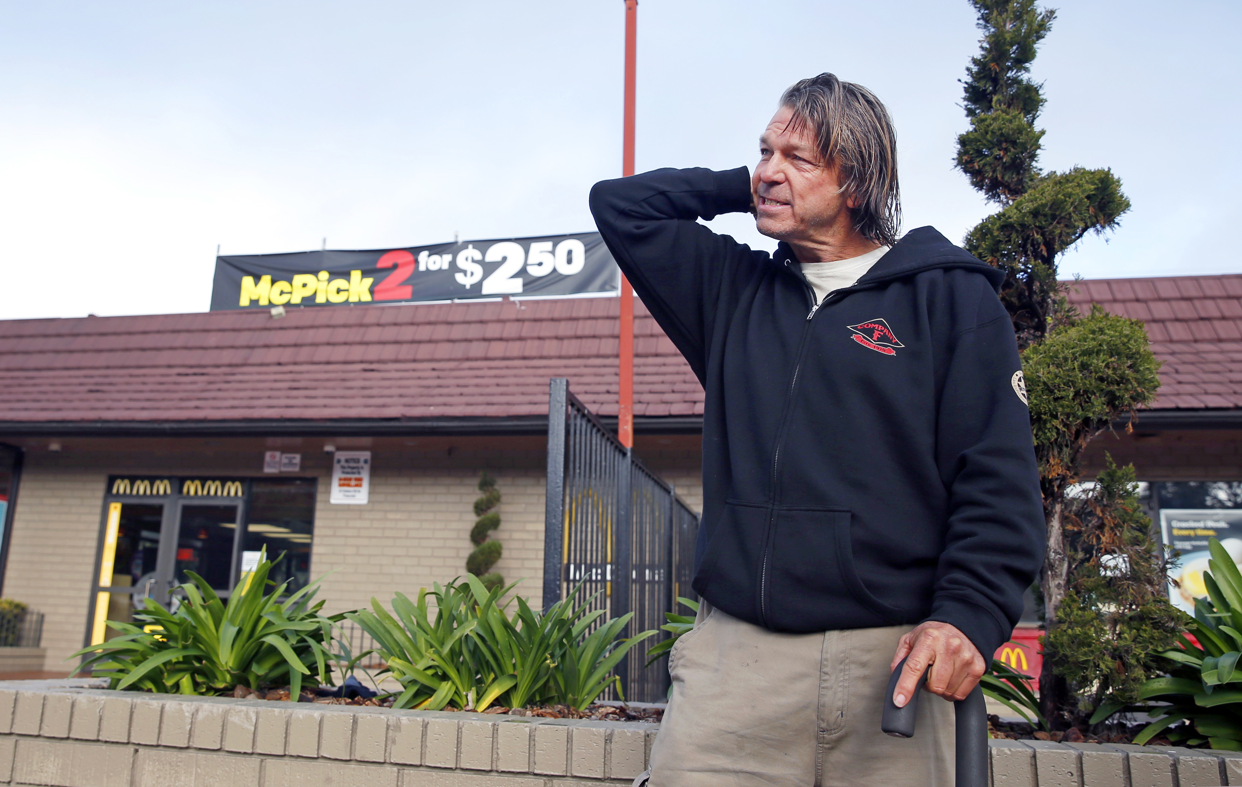 Matthew Hay-Chapman returns to the McDonald's restaurant in San Francisco, where he spotted two of the Orange County jail escapees, on Feb. 2, 2016.