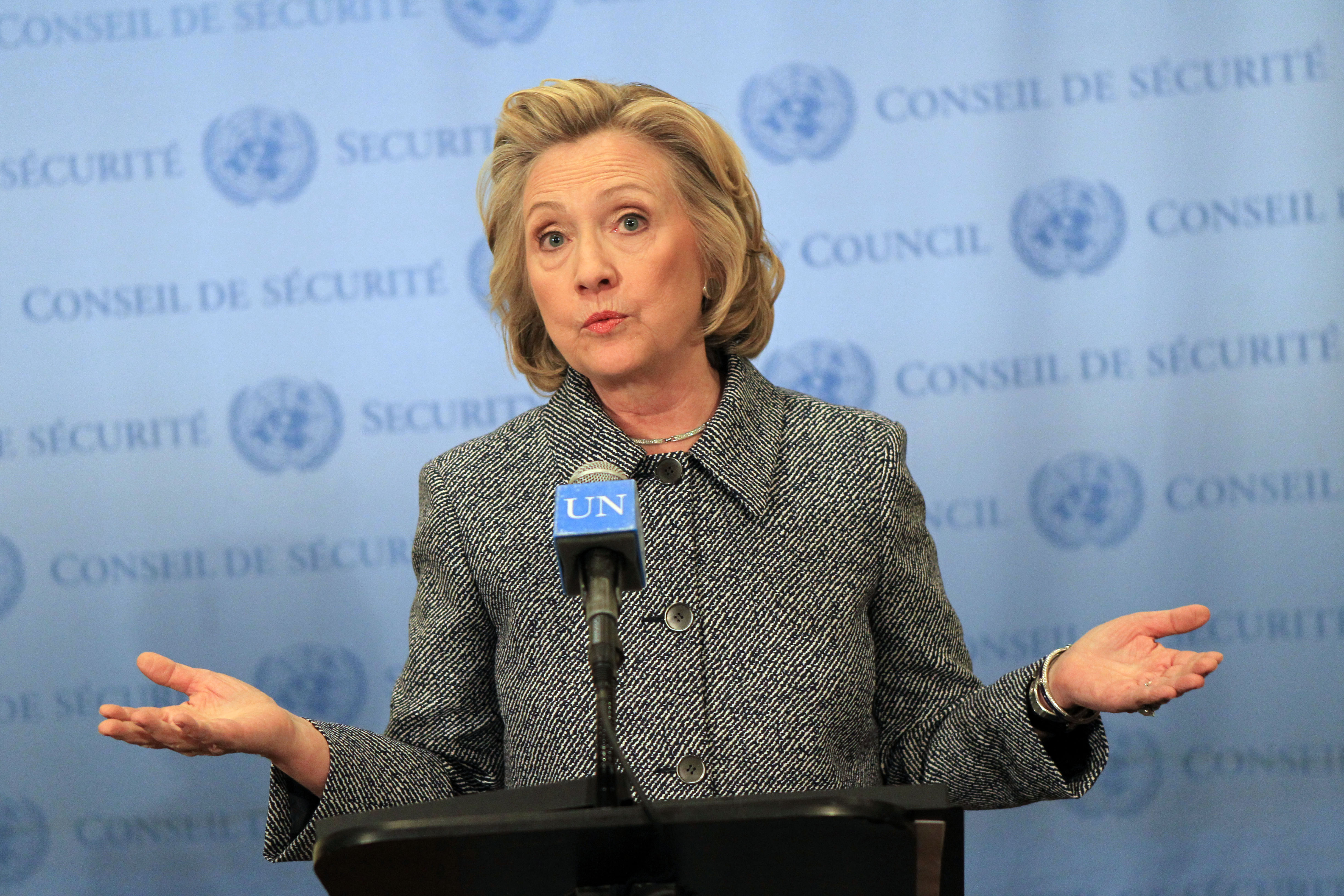 Hillary Clinton holds a press conference regarding her UN Woman's Day speech and her email controversy at United Nations on March 10, 2015 in New York City.