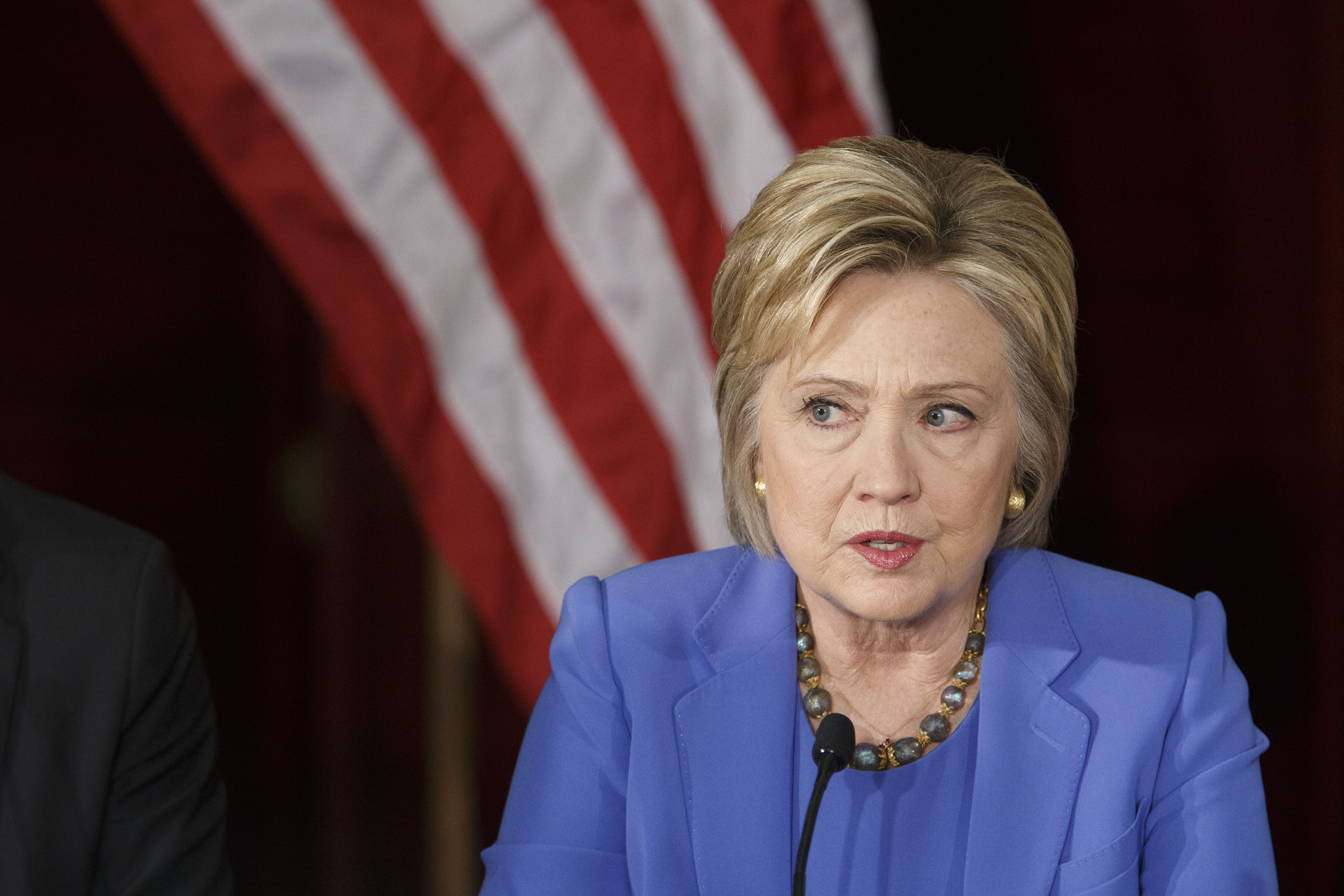 Hillary Clinton, former Secretary of State and 2016 Democratic presidential candidate, speaks during a round table discussion at the University of Southern California (USC) in Los Angeles, California, U.S., on Thursday, March 24, 2016.