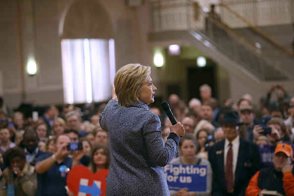 Democratic presidential candidate Hillary Clinton speaks during a  Get Out the Vote  event at the Chicago Journeymen Plumbers Local Union on March 14, 2016 in Chicago, Illinois.