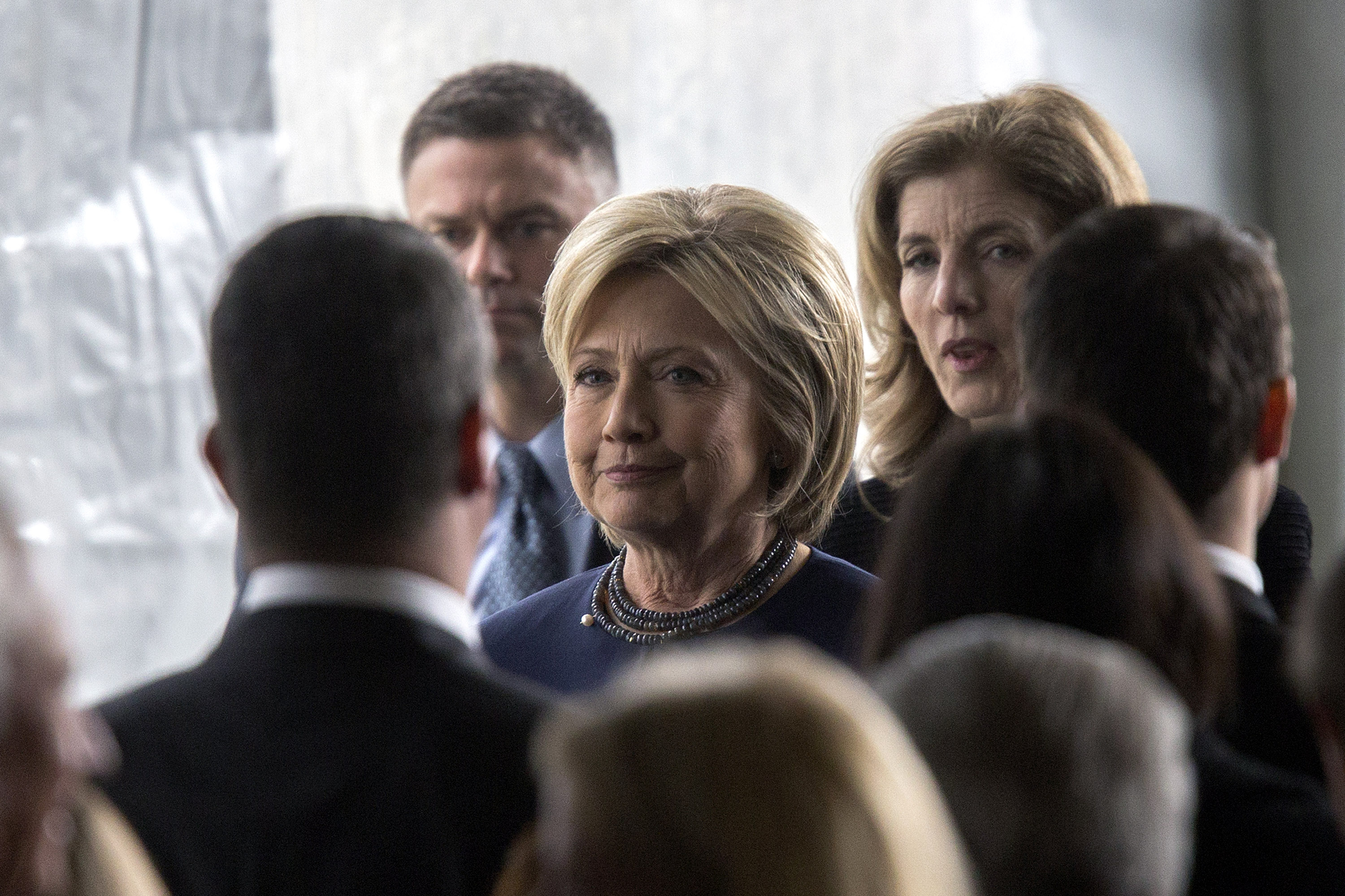 Democratic presidential candidate Hillary Clinton follows the casket during funeral and burial services for former first lady Nancy Reagan at the Ronald Reagan Presidential Library on March 11, 2016 in Simi Valley, Calif.