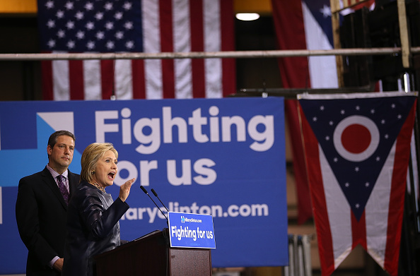 Democratic presidential candidate former Secretary of State Hillary Clinton speaks during a Get Out the Vote event at M7 Technologies on March 12, 2016 in Youngstown, Ohio.