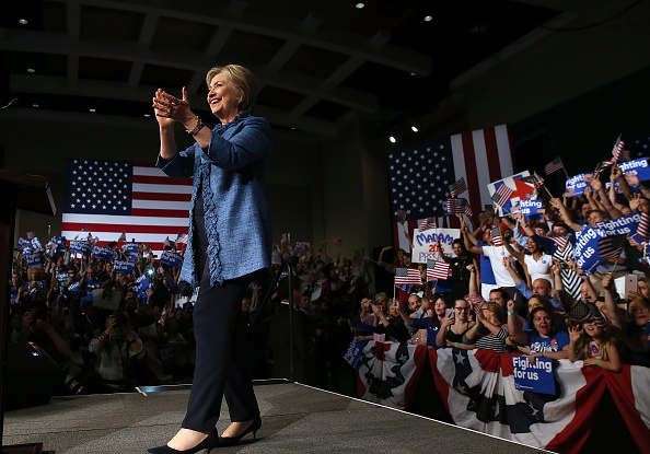 Democratic presidential candidate former Secretary of State Hillary Clinton greets supporters during her primary night gathering on March 15, 2016 in West Palm Beach, Florida.