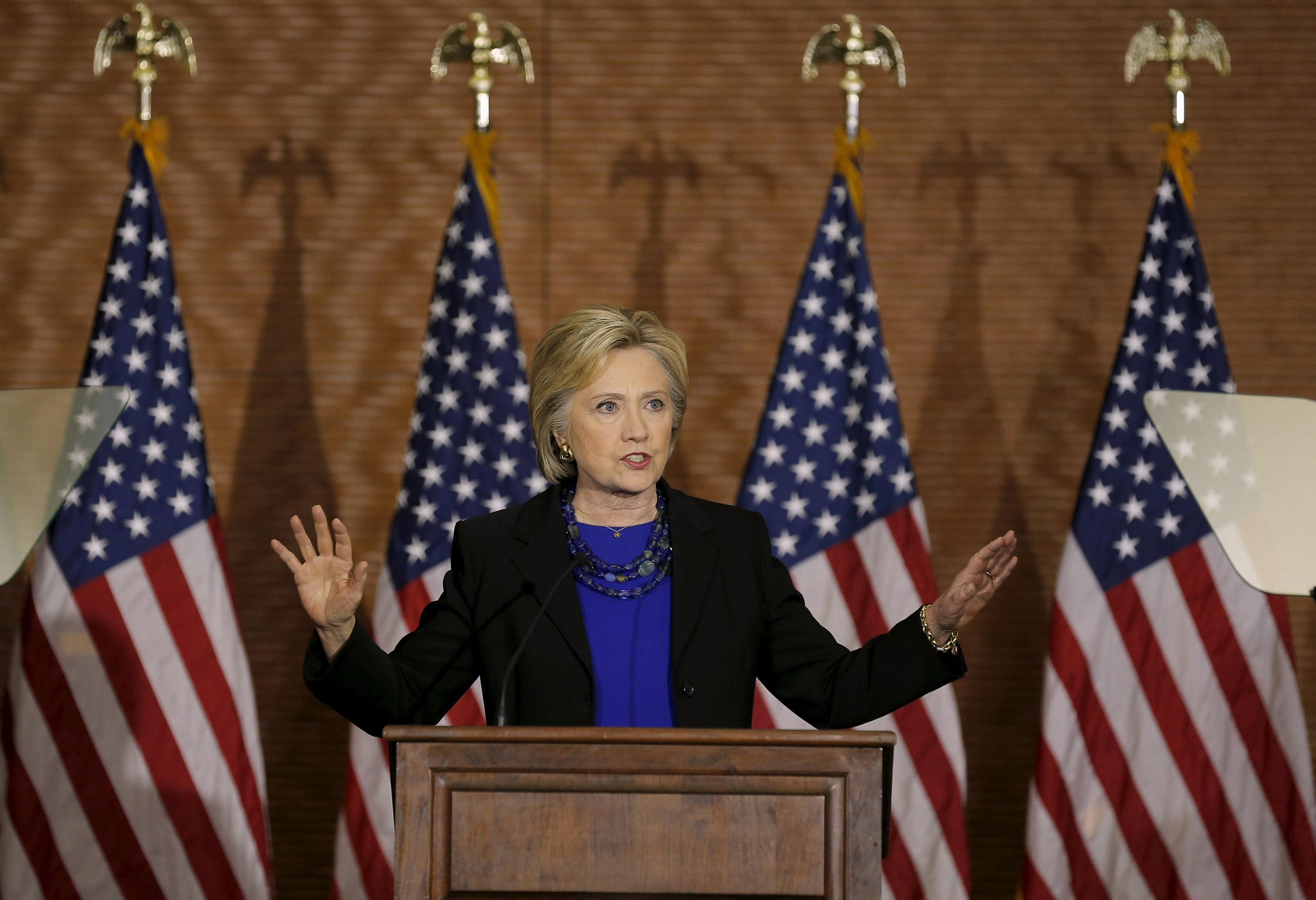 Democratic presidential candidate Hillary Clinton speaks at a campaign event in Madison, Wisconsin, on Mar. 28, 2016.
