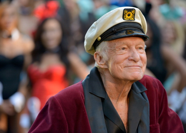 Hugh Hefner poses at Playboy's 60th Anniversary special event on January 16, 2014 in Los Angeles, Calif.