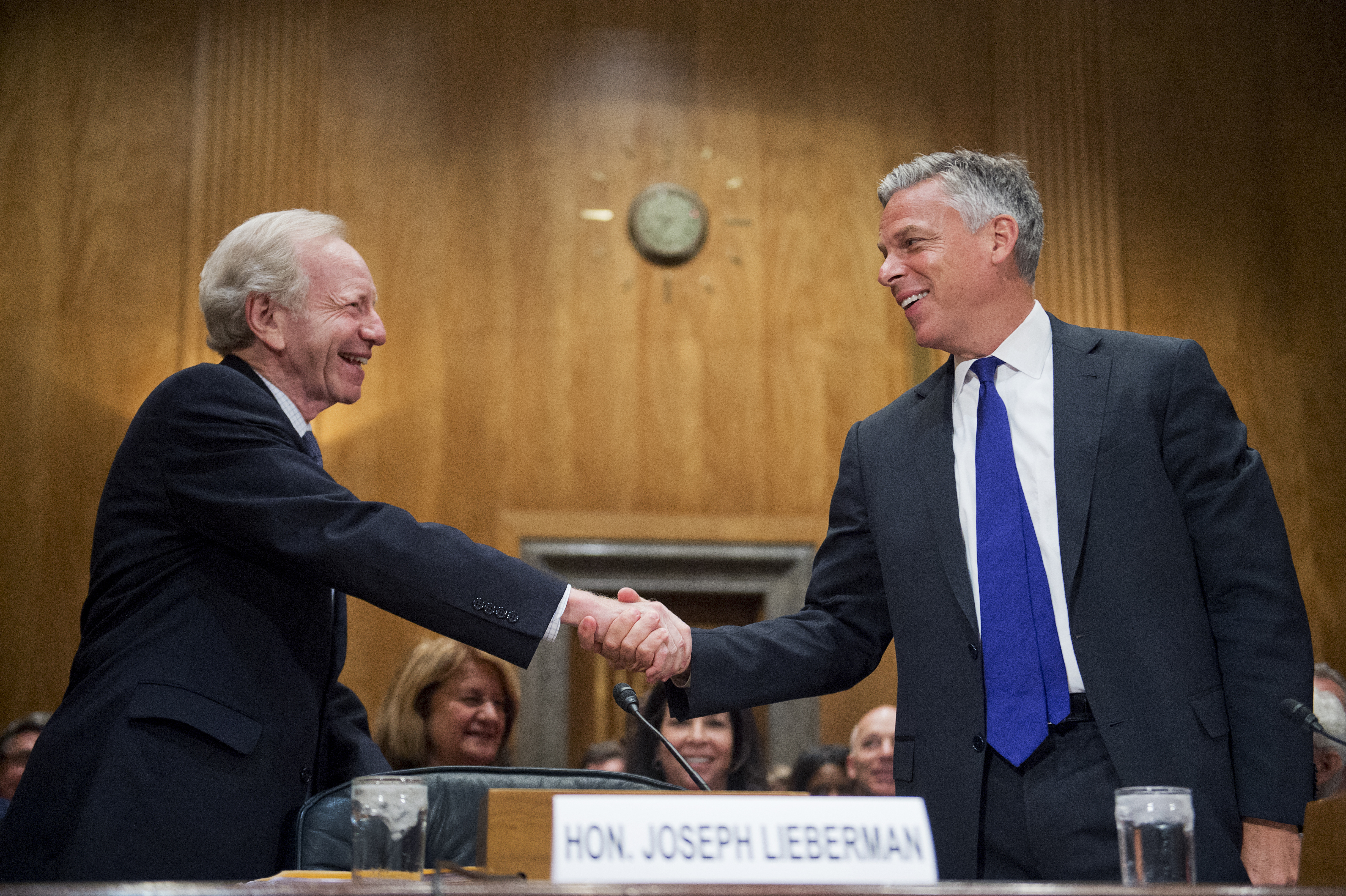 Former Sen. Joseph Lieberman, I-Conn., left, and former Gov. Jon Huntsman Jr., R-Utah, co-chairs of No Labels, arrive for a Senate Homeland Security and Governmental Affairs Committee hearing on June 17, 2015.