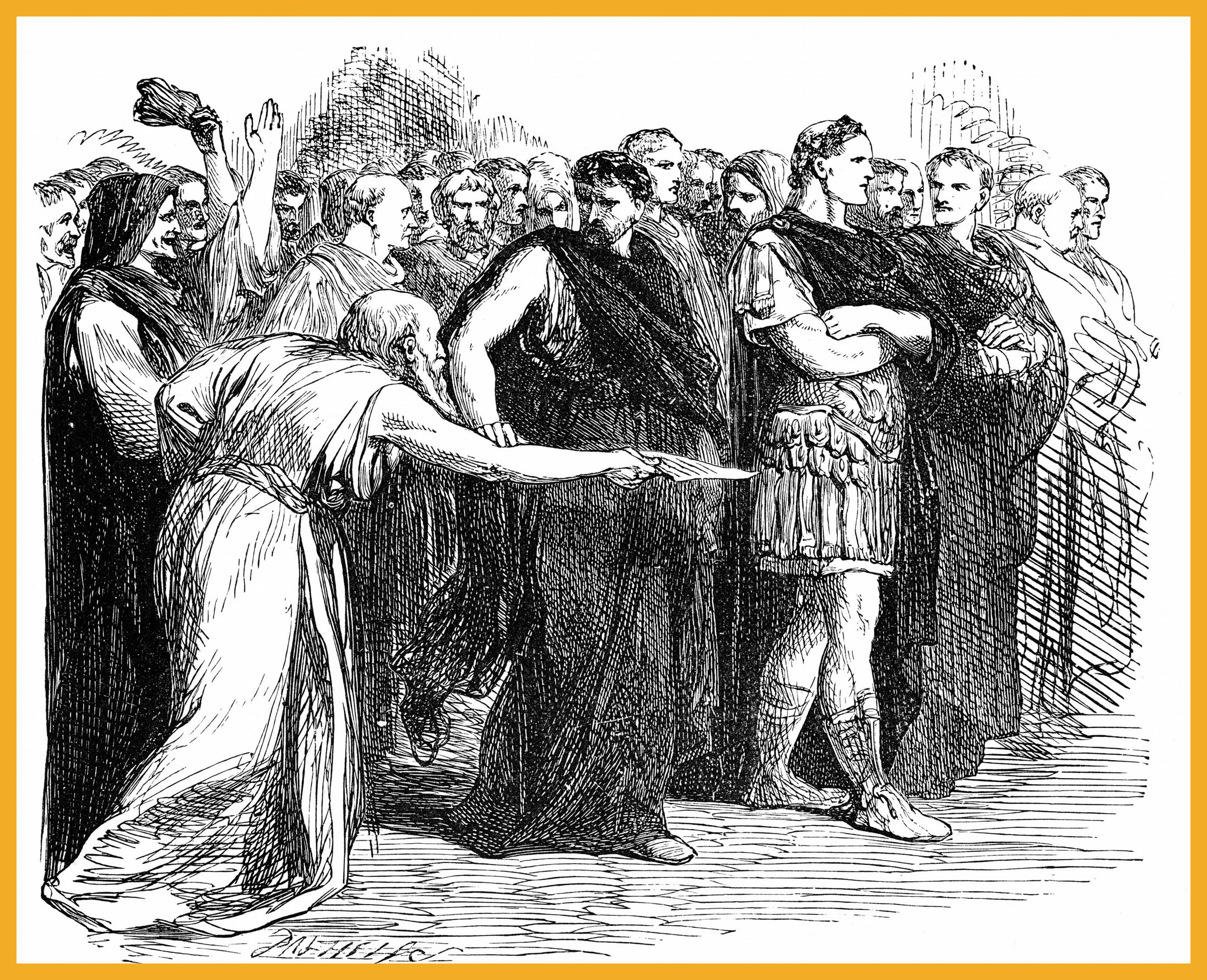 Beware the Ides of March: Soothsayer warning Julius Caesar of the Ides of March - the day on which he was assassinated. Illustration for Julius Caesar from an edition of William Shakespeare's works published 1858.