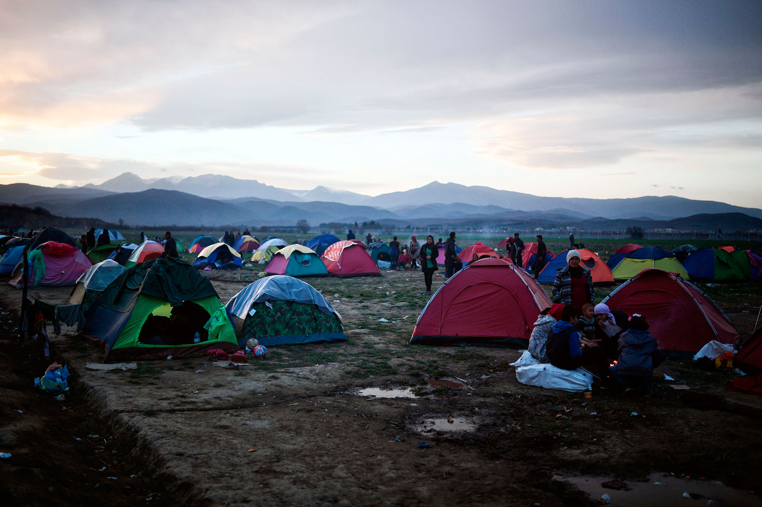Thousands of migrants and refugees are stranded in a makeshift tent city at the Greek-Macedonian border, near the Greek village of Idomeni, seen here on March 6, 2016.