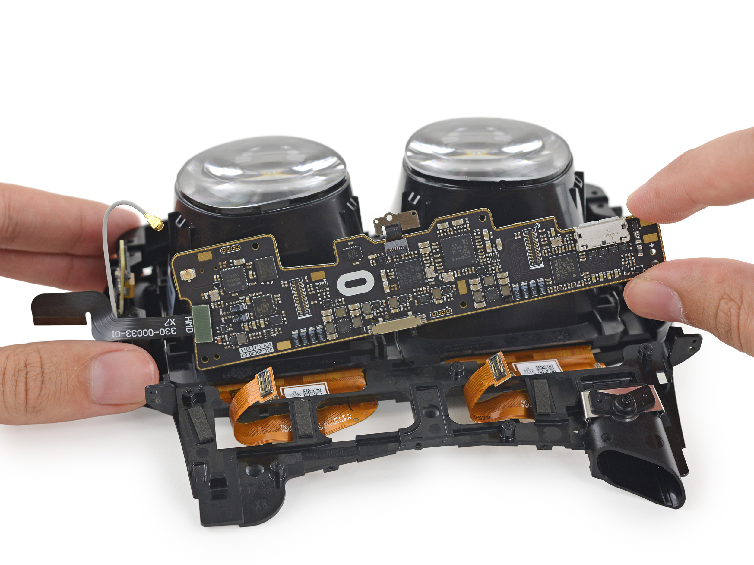 The headset's motherboard is located in the top of its lens assembly, as shown here.