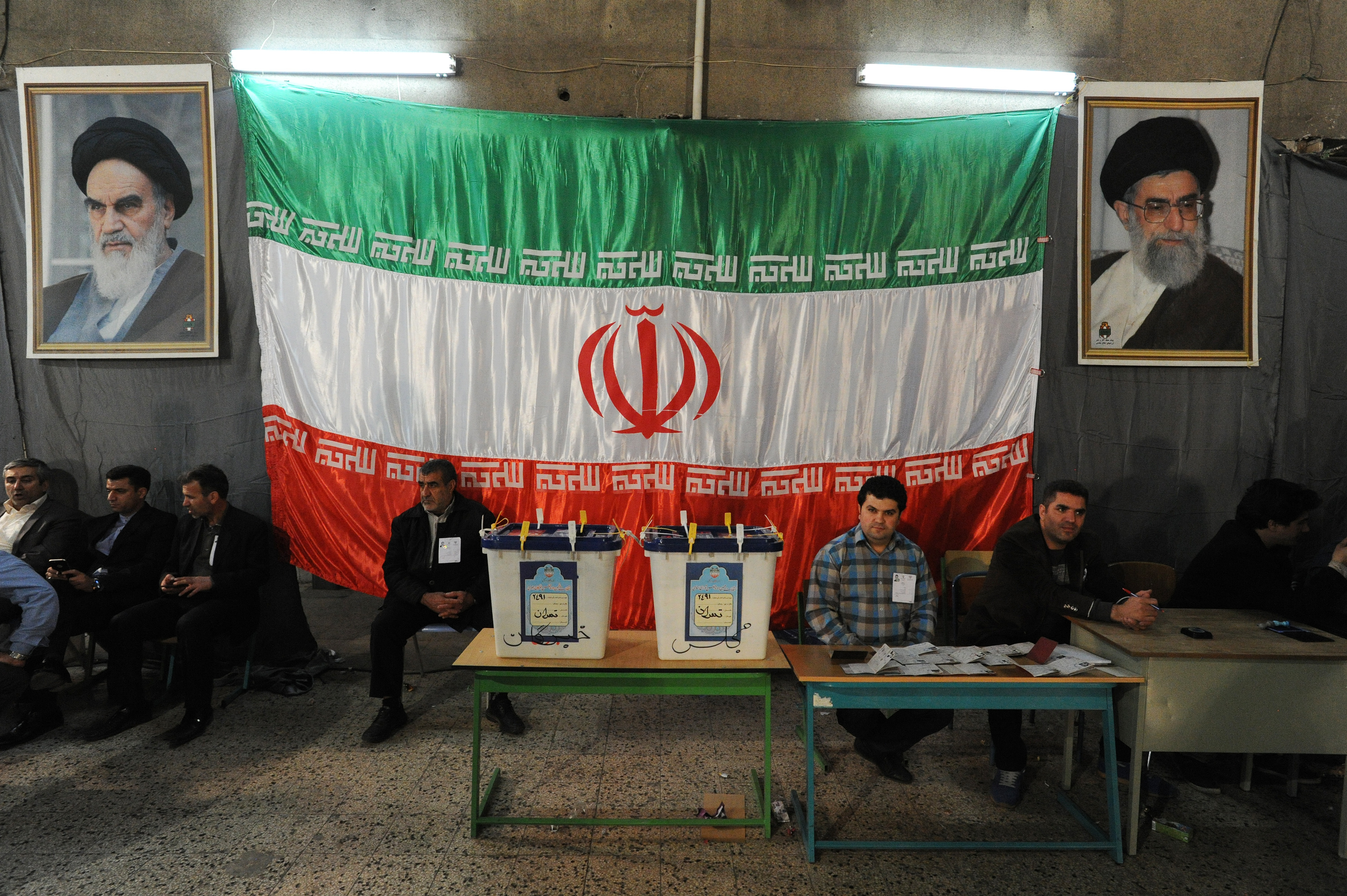 Iranians vote in key elections for Parliament and the Assembly of Experts at the Rasoul mosque in the Nazi Abad district of south Tehran on Feb. 26, 2016.