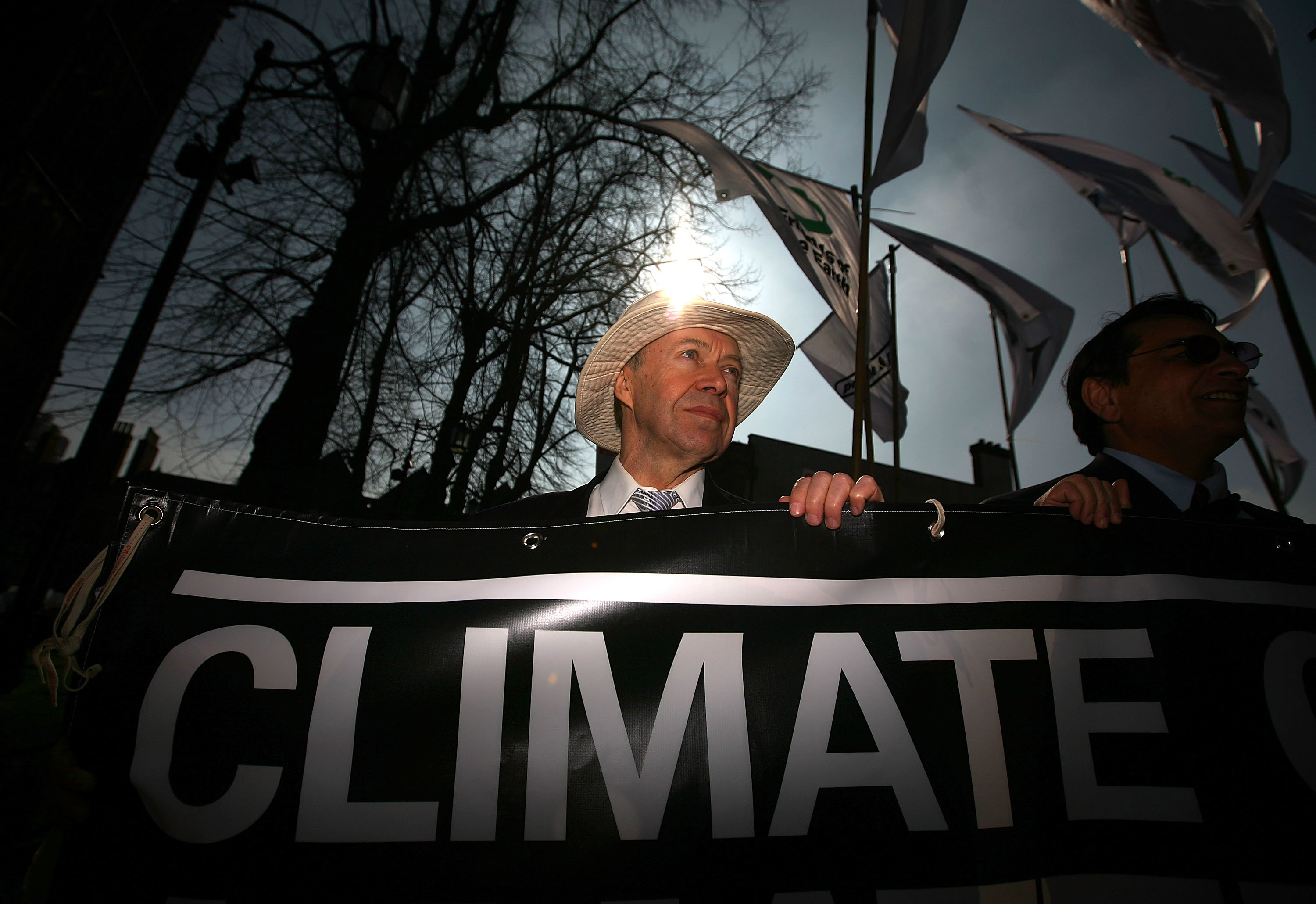 Scientist and climatologist James Hansen takes part in a mock funeral parade during a Climate Change Campaign Action Day on March 19, 2009 in Coventry, England.