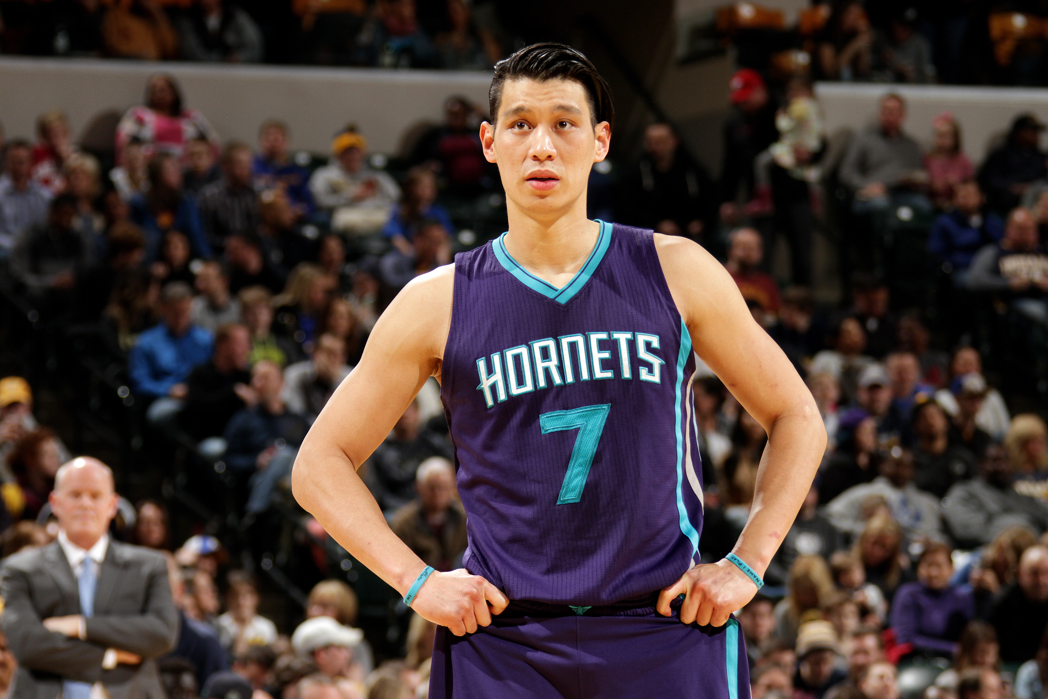 Jeremy Lin of the Charlotte Hornets looks on during a game in Indianapolis, on Feb. 26, 2016.