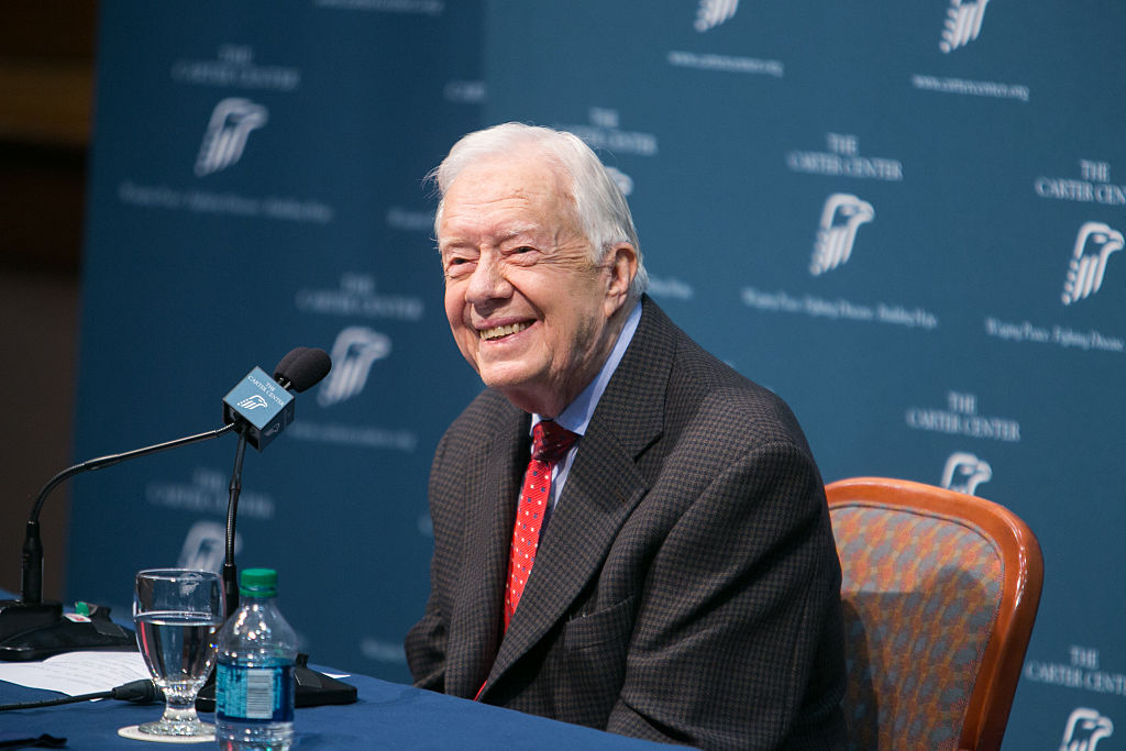 Former President Jimmy Carter discusses his cancer diagnosis during a press conference at the Carter Center on Aug. 20, 2015 in Atlanta, Georgia.