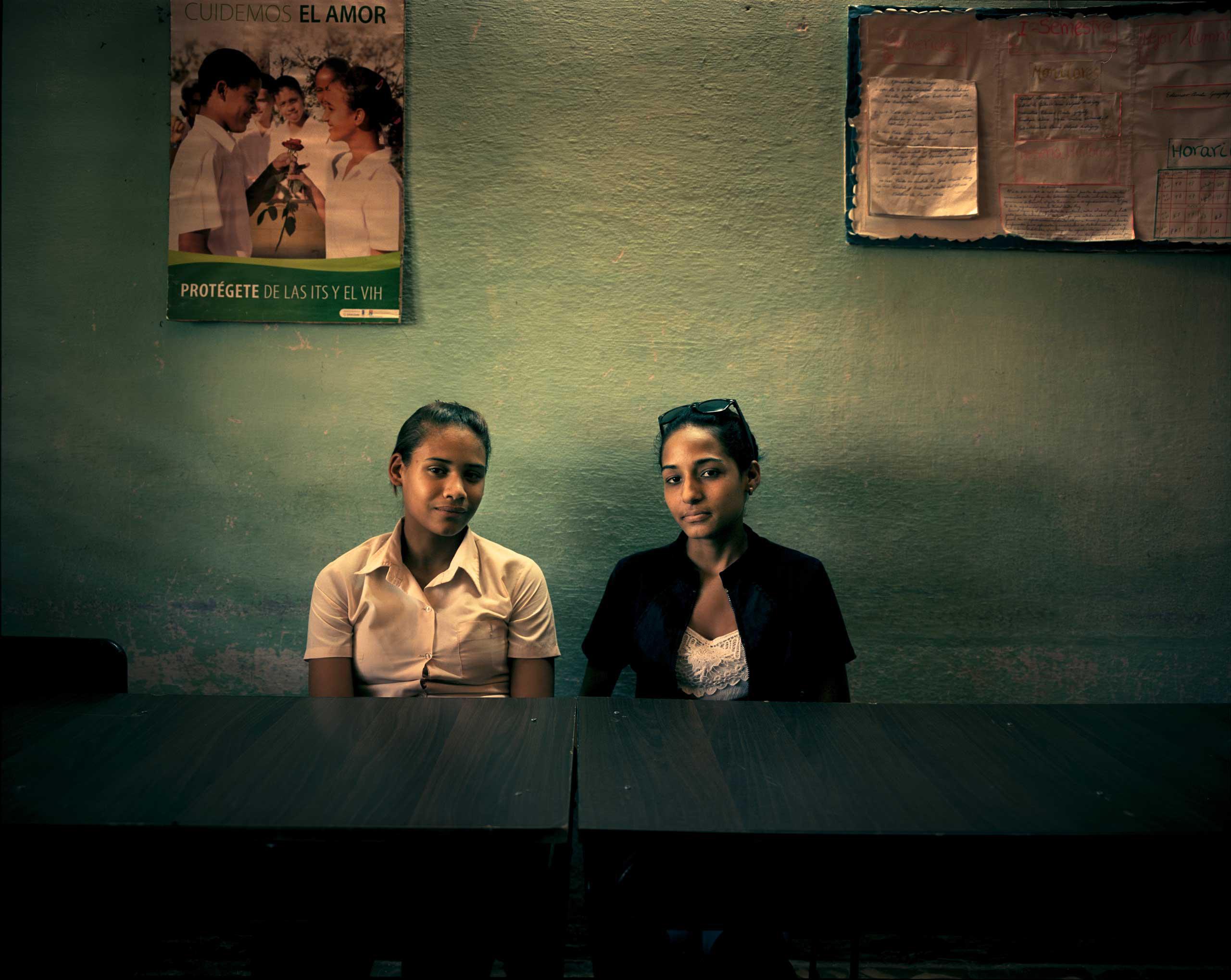 School girls in a classroom in Niquero, a town 750 kilometers east of Havana.