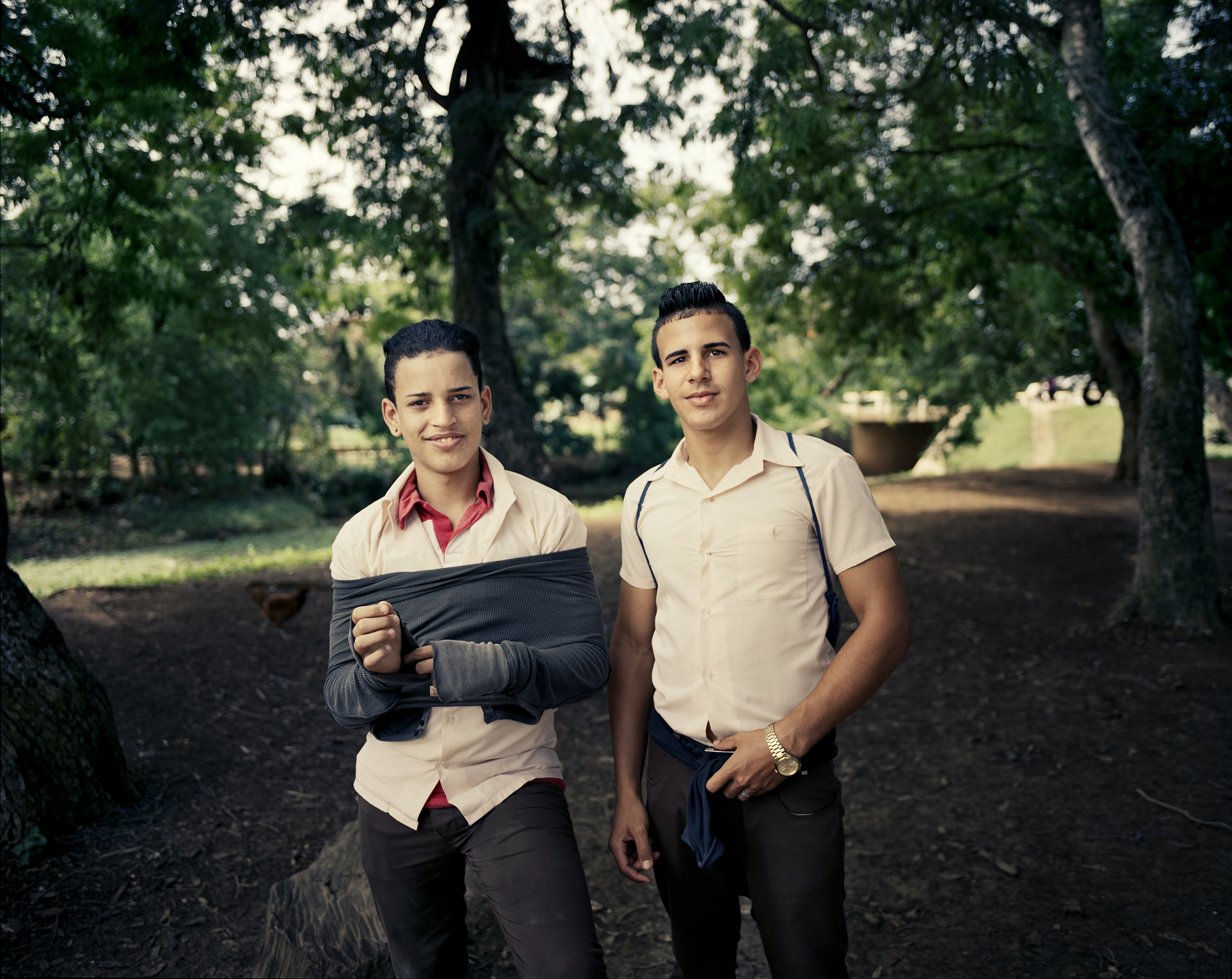 Technical school boys in their uniforms in Niquero.