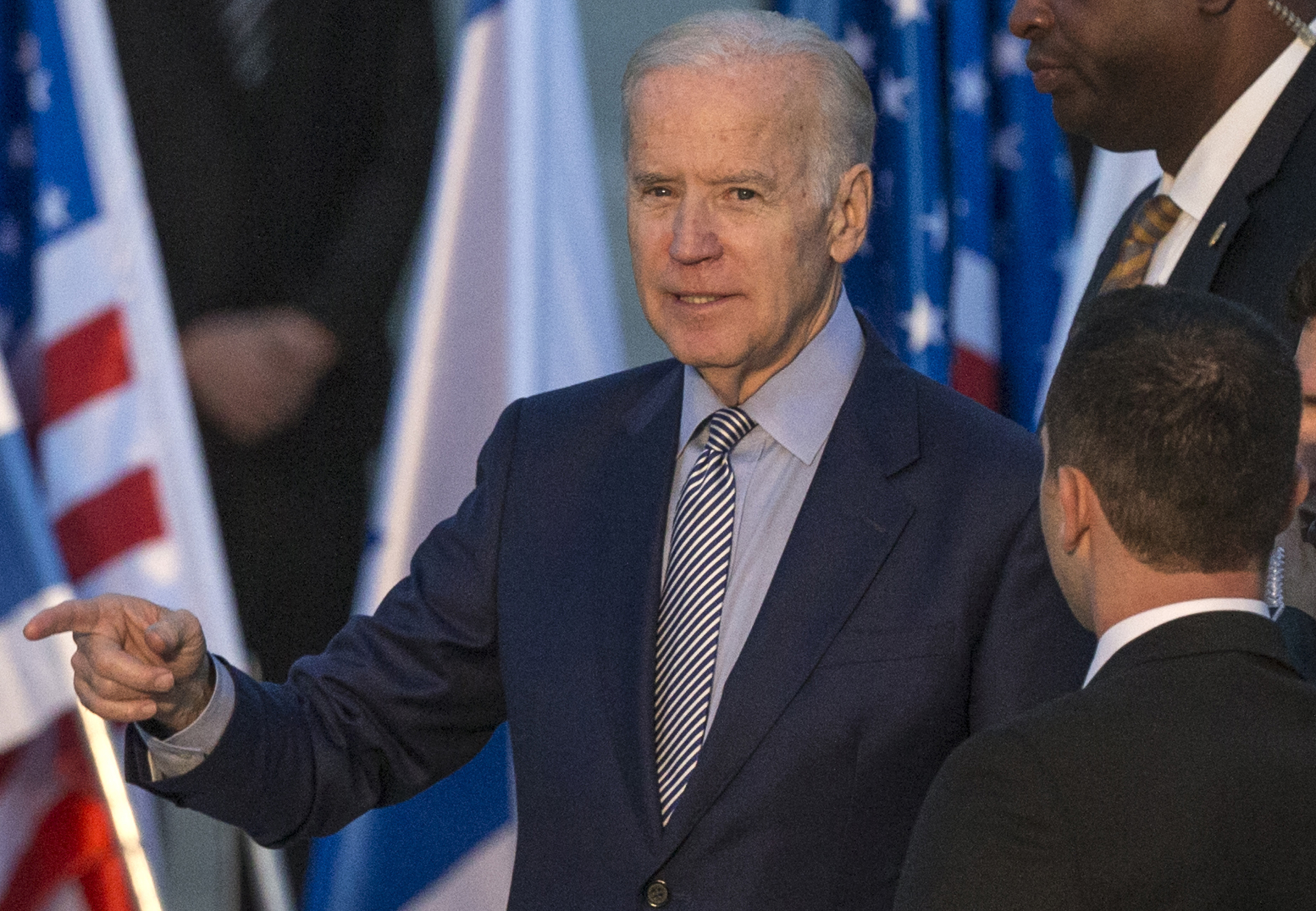 Joe Biden gestures upon his arrival at Israel's Ben Gurion International Airport on March 8, 2016.