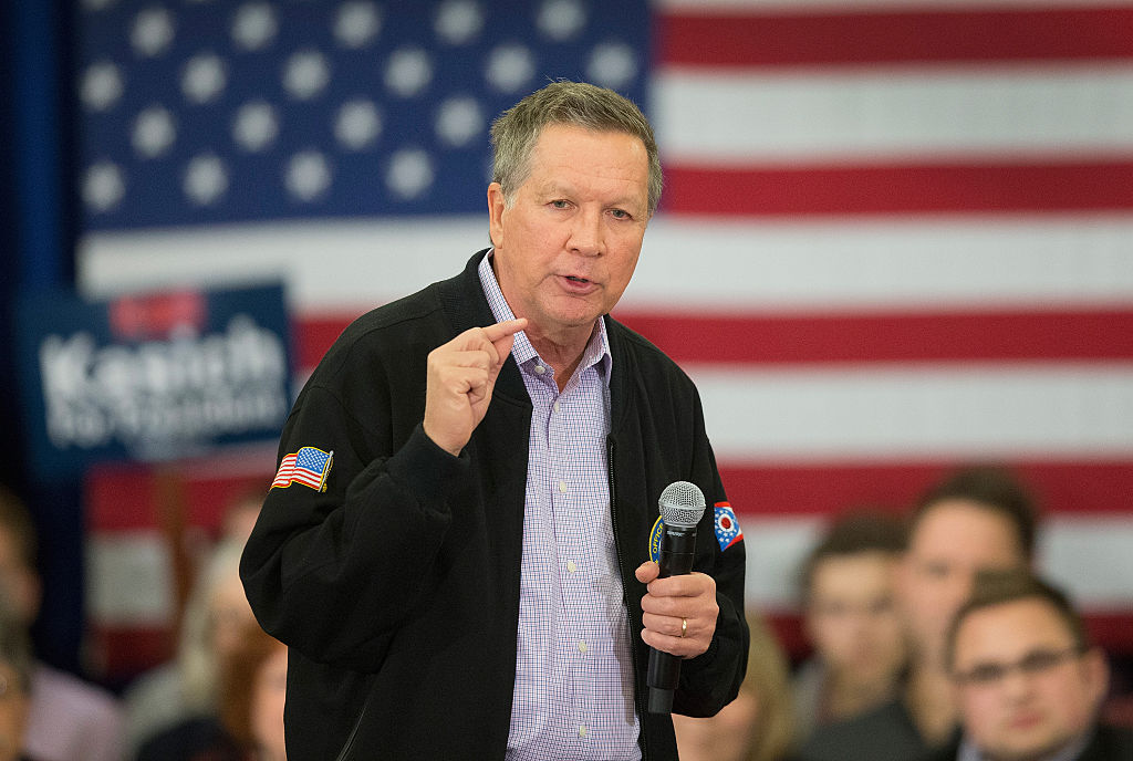 Ohio Governor and Republican presidential candidate John Kasich speaks at a campaign rally at the Crowne Plaza Milwaukee West hotel on March 23, 2016, in Wauwatosa, Wis.