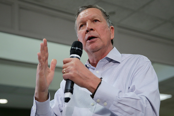 Republican presidential candidate Ohio Gov. John Kasich addresses a town hall-style meeting in the Hazel Hall Atrium at the George Mason University Law School in Fairfax, Va., on March 1, 2016.