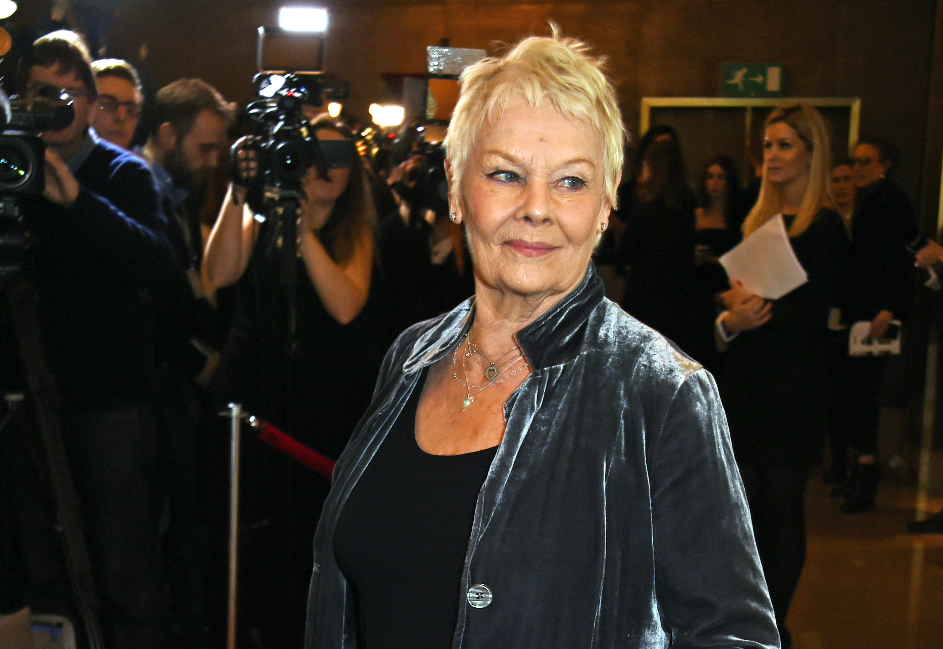 Dame Judi Dench arrives at The London Critics' Circle Film Awards at The May Fair Hotel on January 17, 2016 in London, England.