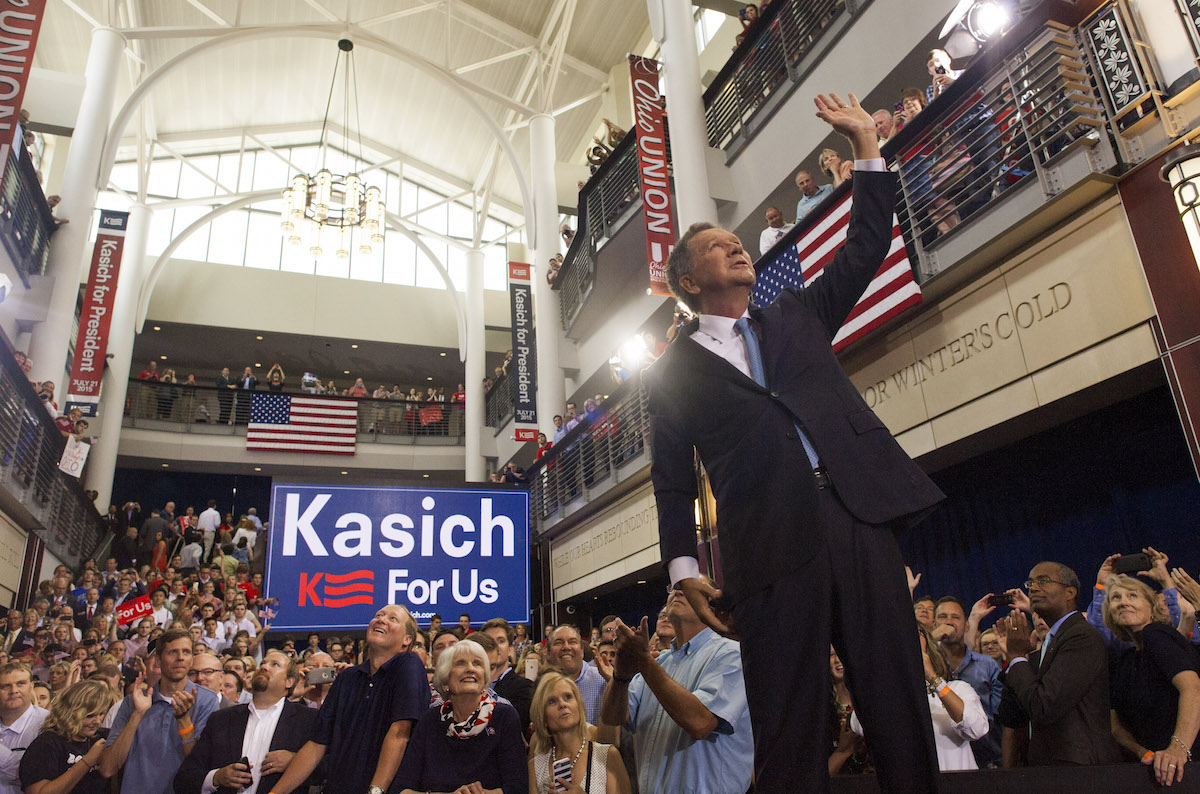 Ohio Governor John Kasich waves to the crowd after giving his speech announcing his 2016 Presidential candidacy at the Ohio Student Union, at The Ohio State University on July 21, 2015 in Columbus, Ohio.