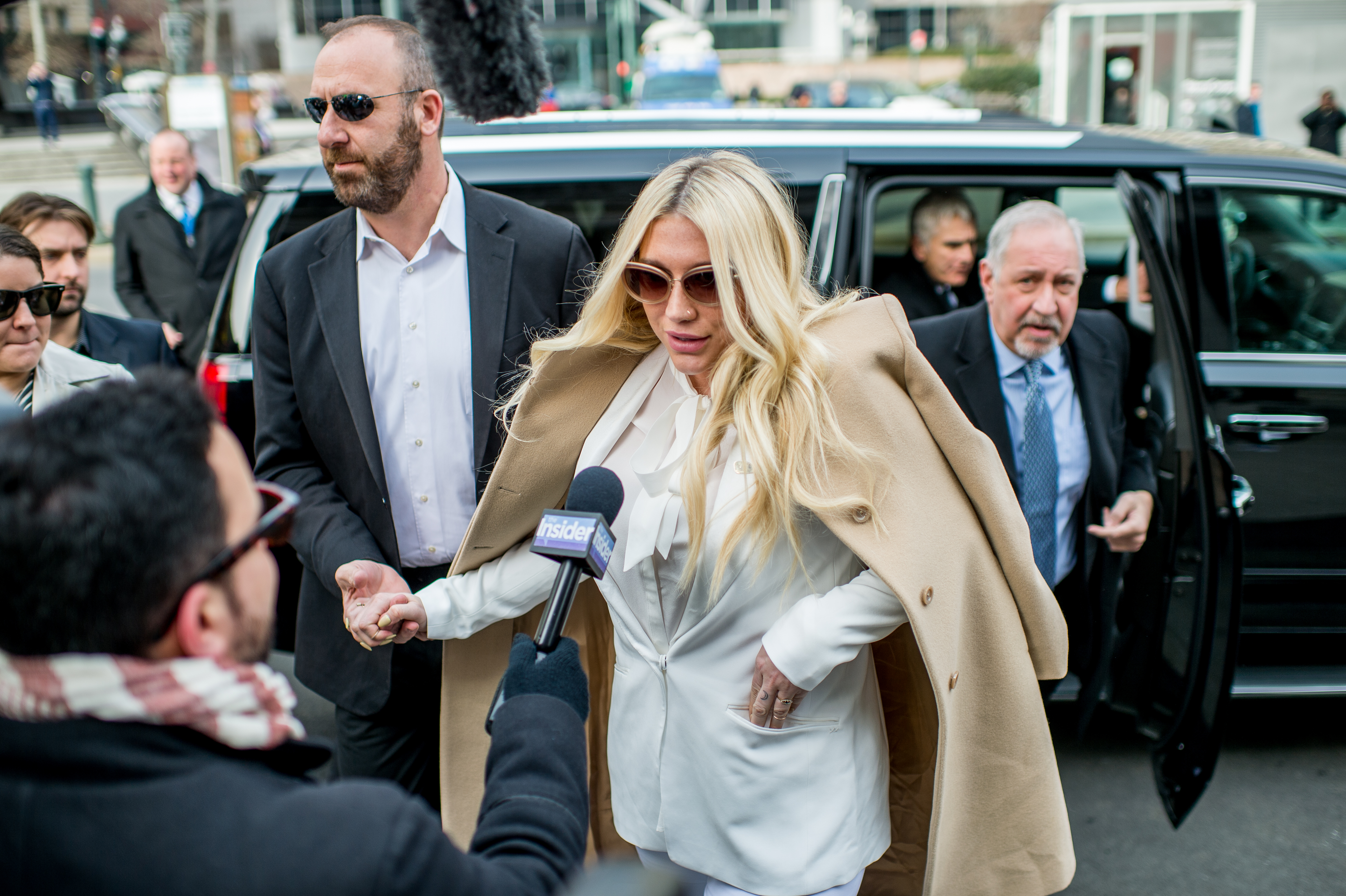 Kesha makes a court appearance as fans protest Sony Music Entertainment outside New York State Supreme Court on February 19, 2016 in New York City.