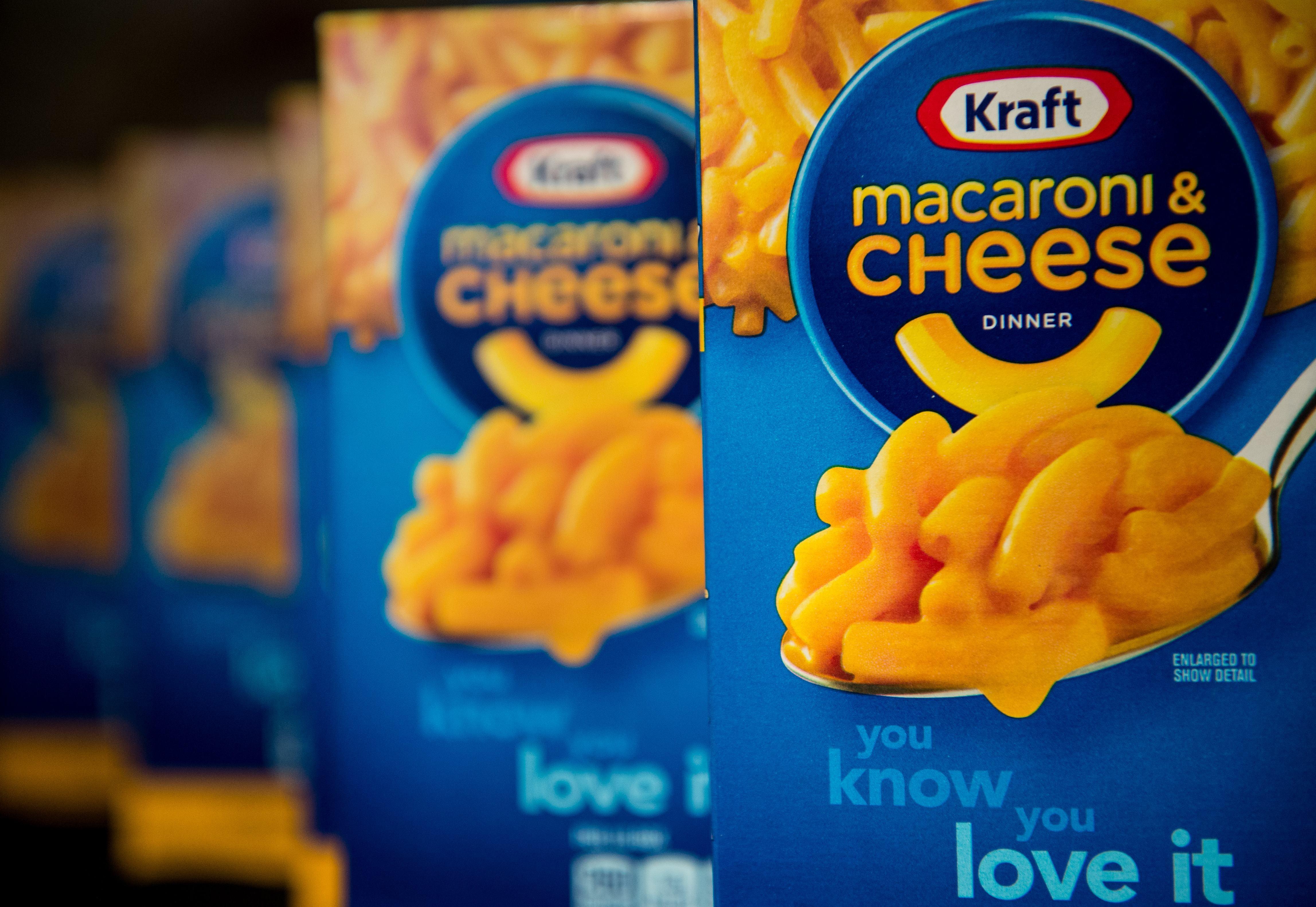 Kraft's macaroni and cheese sits on a shelf in Washington on April 21, 2015.
