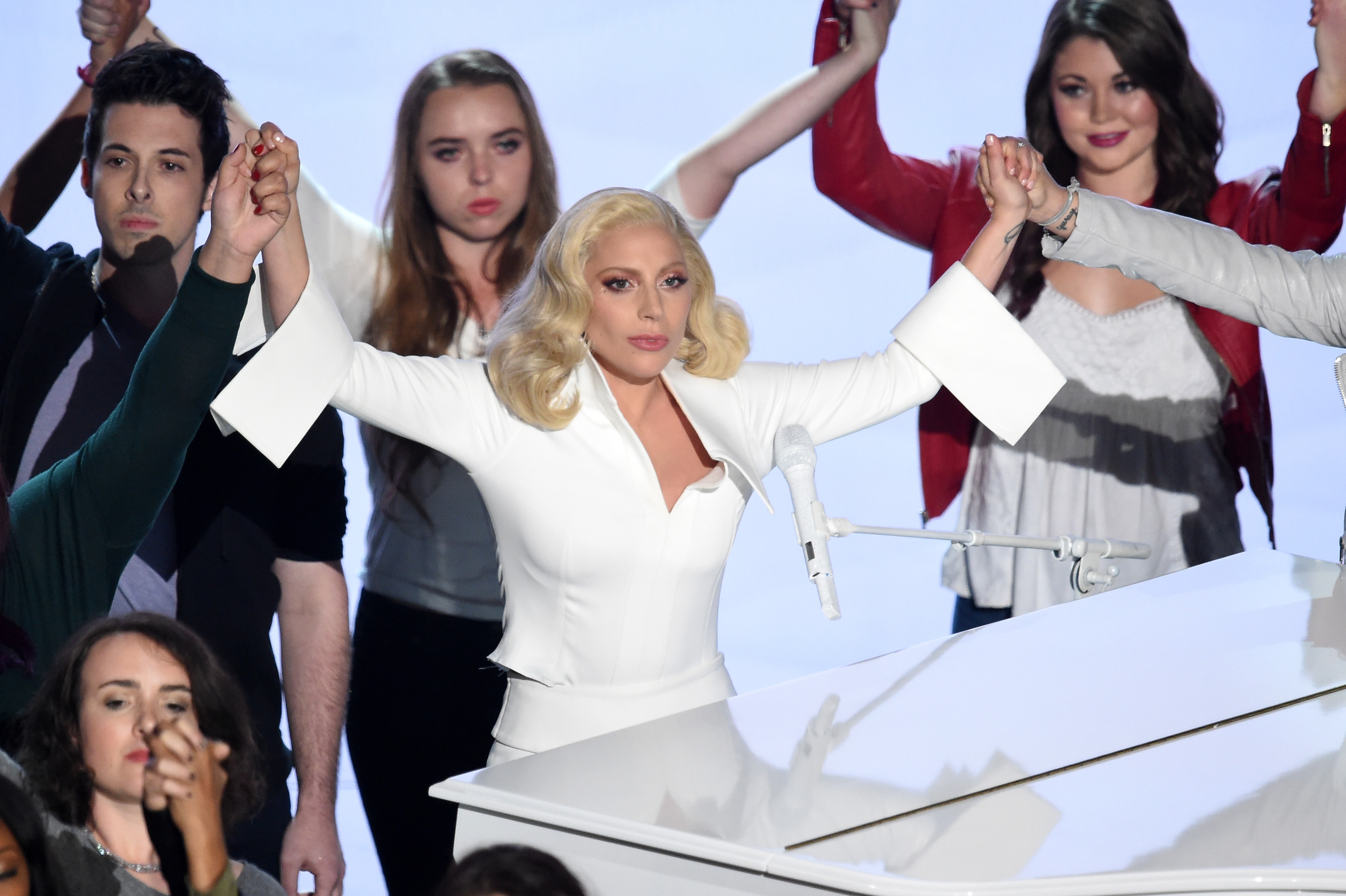 Singer-songwriter Lady Gaga performs onstage during the 88th Annual Academy Awards at the Dolby Theatre on February 28, 2016 in Hollywood, California.