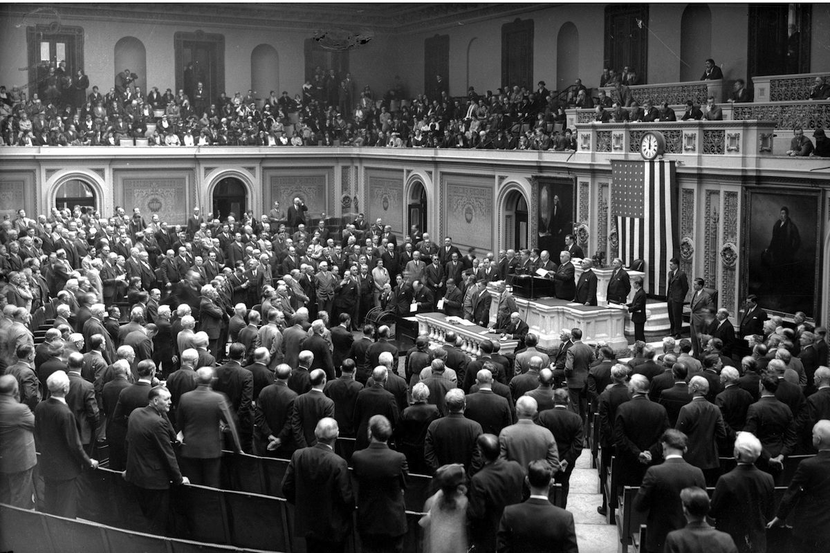 Clerk South Trimble of the House of Representatives calls the House to order during session of Congress on Mar. 10, 1933.