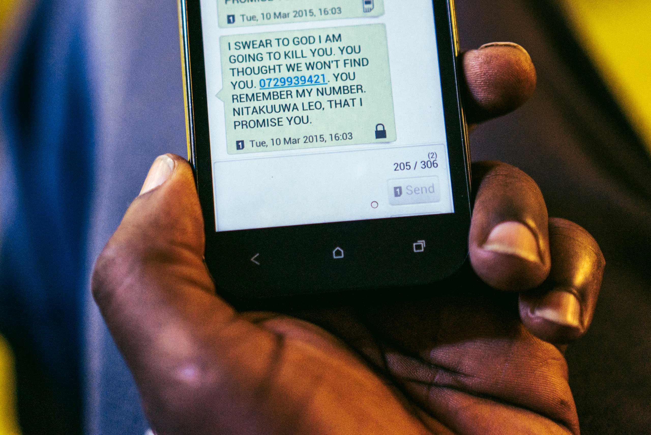 A text message a gay refugee from Uganda received from an unknown number soon after he arrived in Kenya. The sender threatened to kill him that same day, forcing him to go into hiding. He has since been resettled in the U.S.