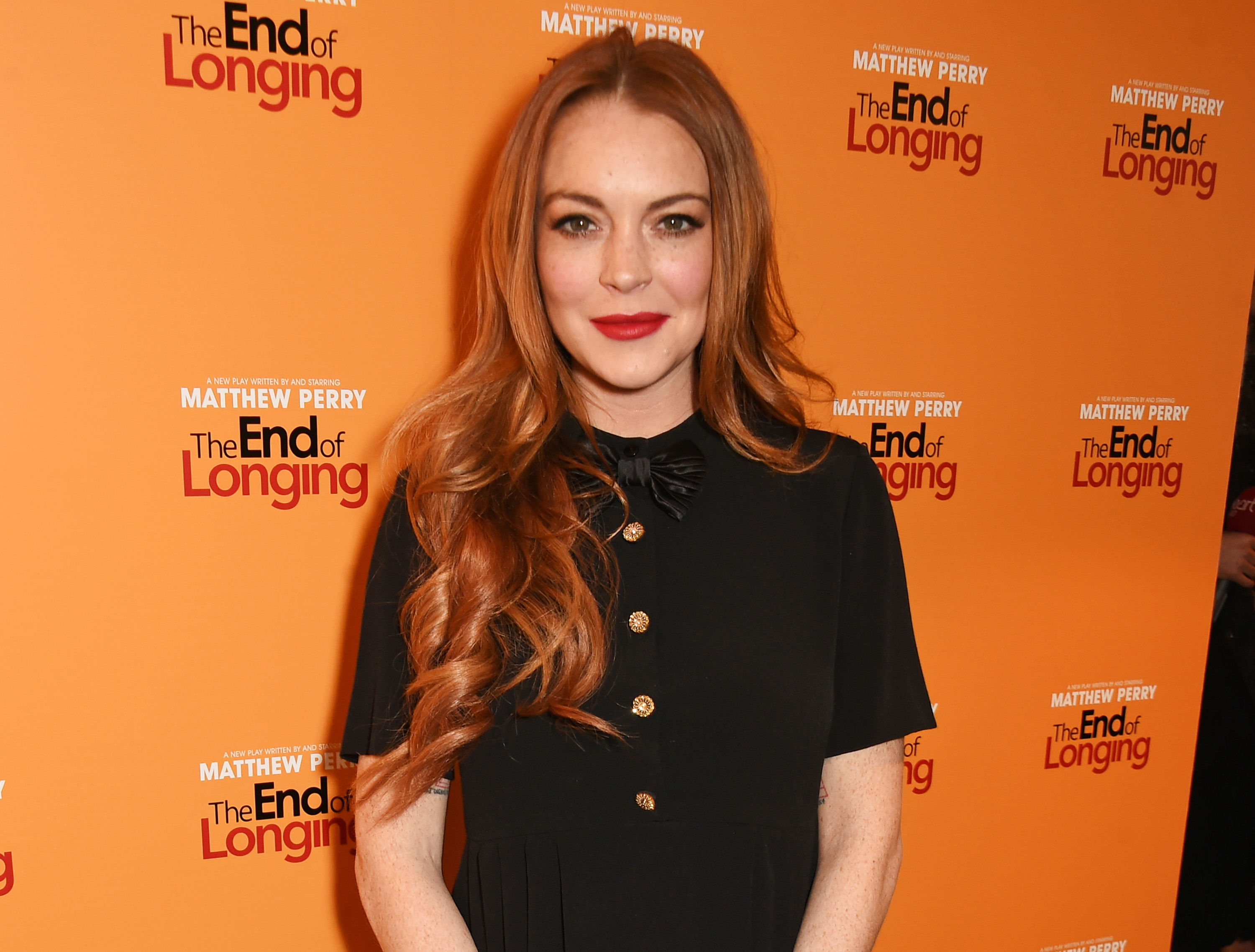Lindsay Lohan attends an after party celebrating the World Premiere of 'The End Of Longing', written by and starring Matthew Perry, on February 11, 2016 in London, England.