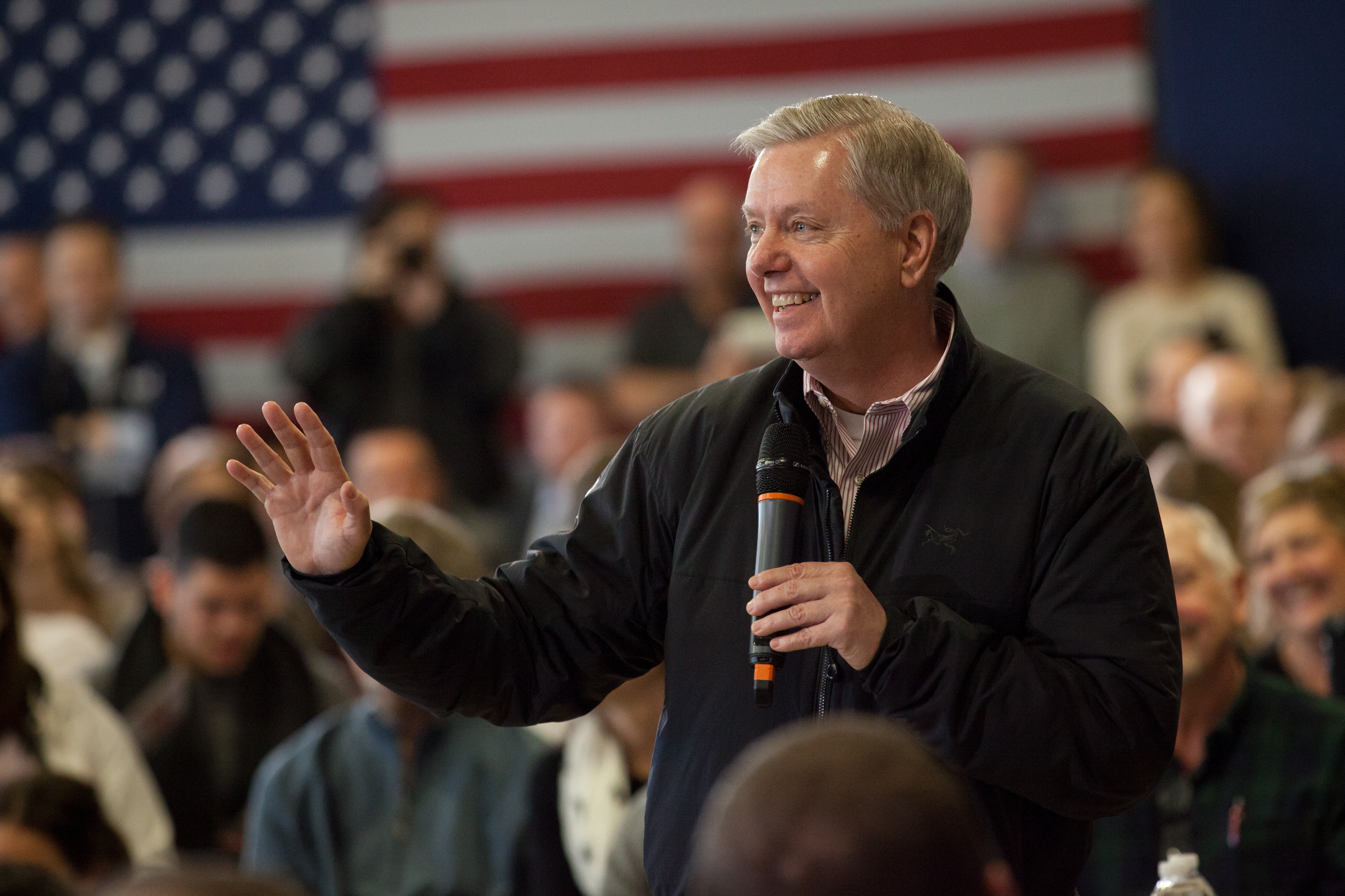 Sen. Lindsey Graham (R-SC) campaigns for Republican presidential candidate Jeb Bush at a town hall style meeting on Feb. 6.