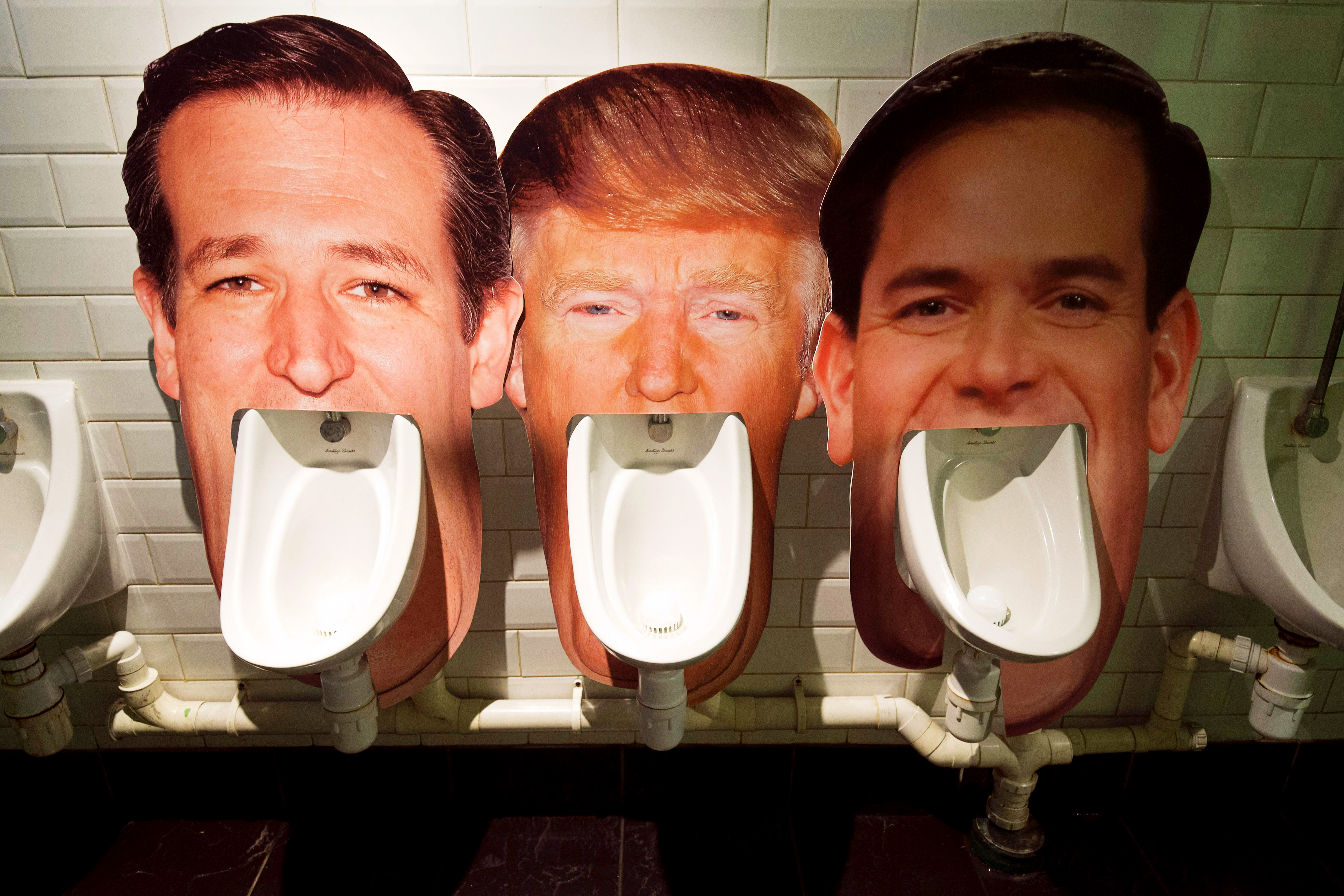 Cardboard cut outs show the likeness of Republican presidential candidates, from left, Ted Cruz, Donald Trump and Marco Rubio in a London pub on March 1.