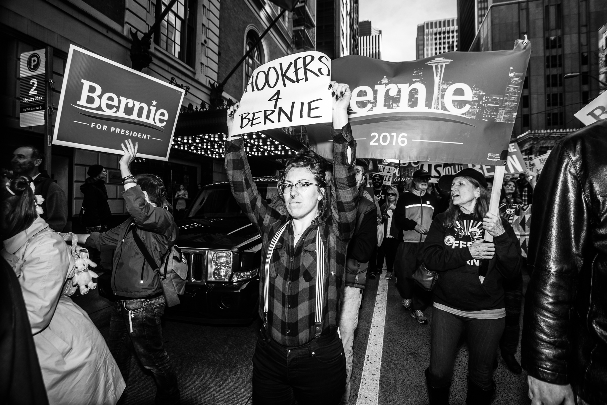 Supporters walk in a 'March for Bernie' in downtown Seattle on on Feb. 27.