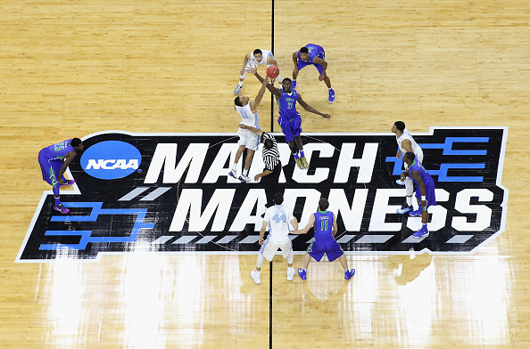 A general view of the the tip-off between the Florida Gulf Coast Eagles and the North Carolina Tar Heels during the first round of the NCAA Men's Basketball Tournament at PNC Arena on March 17, 2016 in Raleigh, North Carolina.