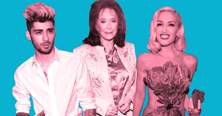 From left: Zayn Malik, Loretta Lynn and Gwen Stefani.