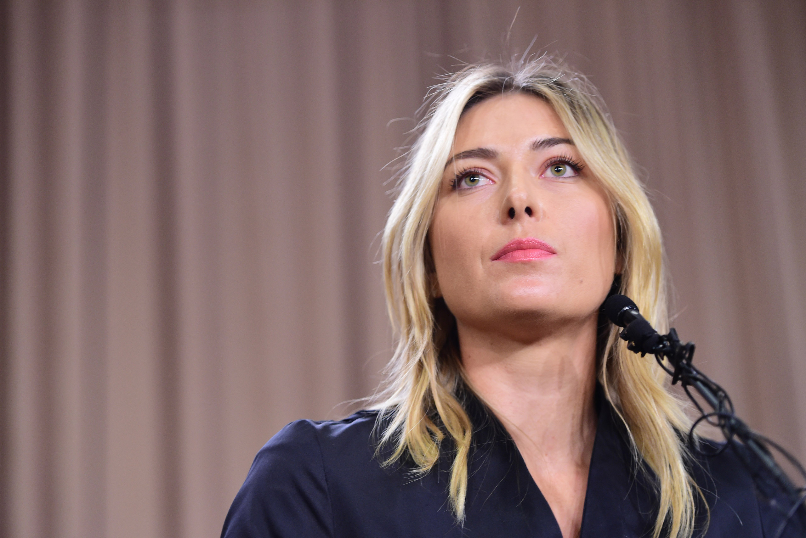 Russian tennis player Maria Sharapova speaks at a press conference in downtown Los Angeles on Mar. 7, 2016.