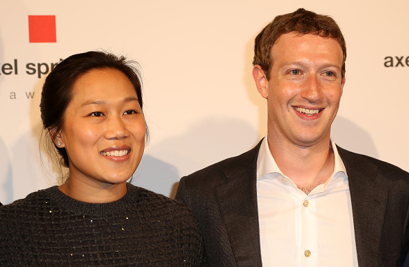 Mark Zuckerberg (R) and Priscilla Chan arrive for the presentation of the first Axel Springer Award on February 25 in Berlin, Germany.