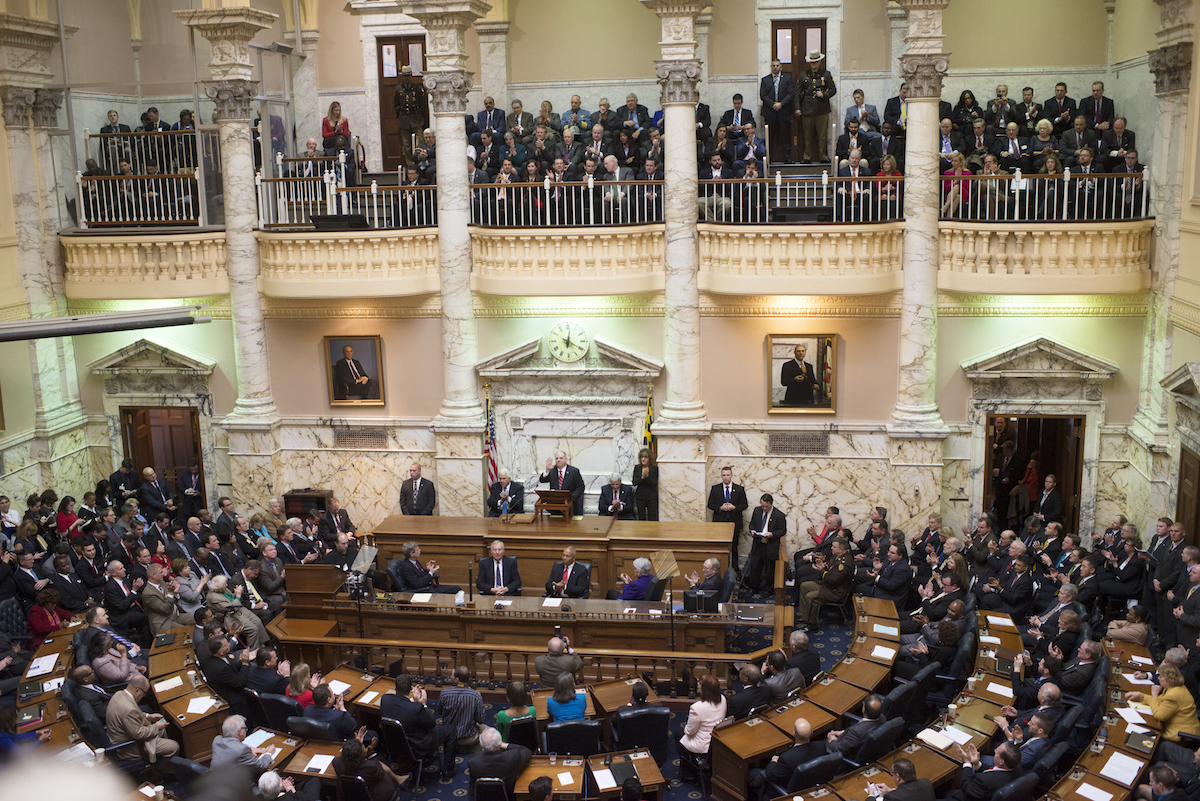 Governor Larry Hogan gives the State of the State address to a joint session of the general assembly at the State House in Annapolis, Maryland on February 3, 2016.