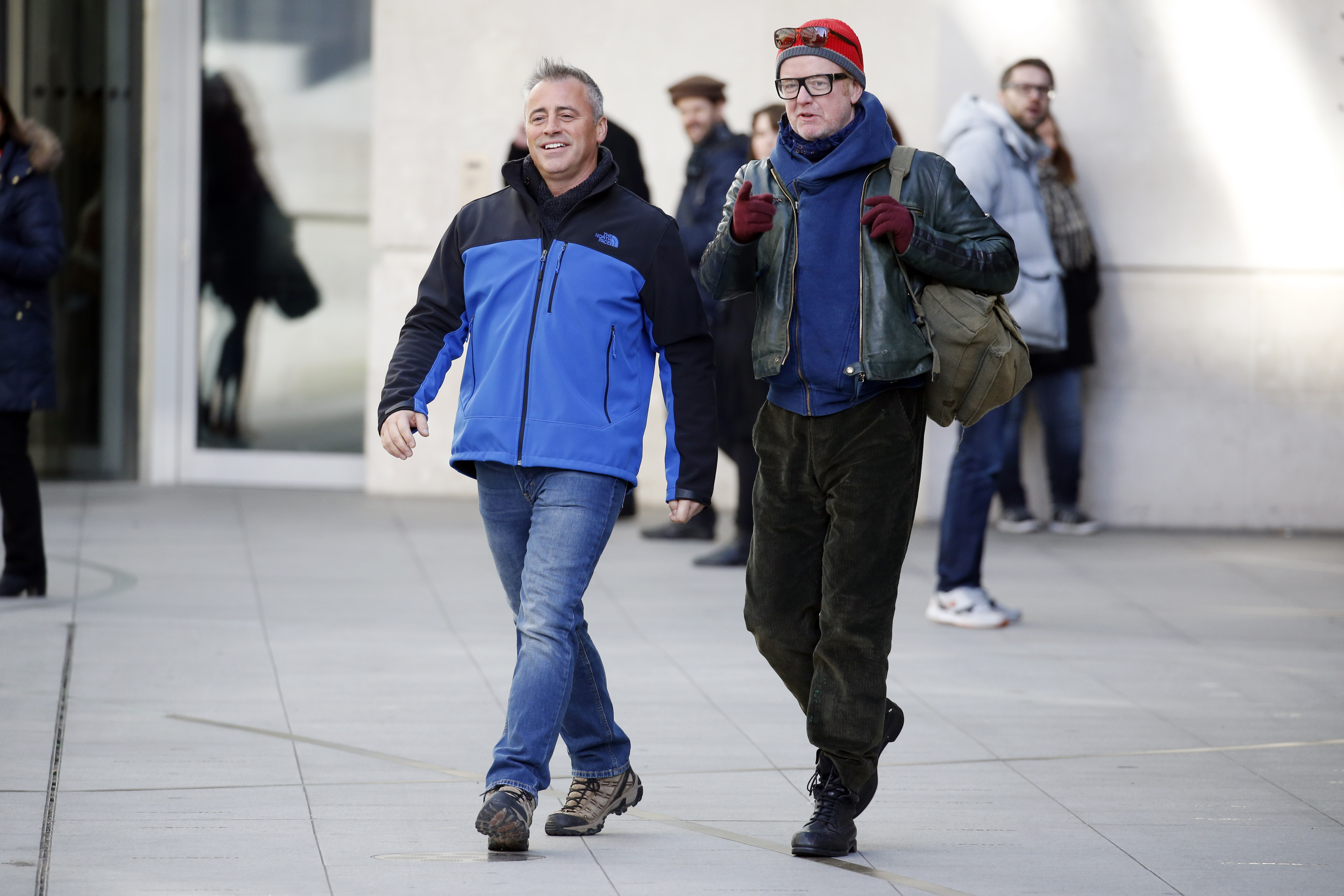 Matt Le Blanc and Chris Evans seen filming scenes for Top Gear on February 19, 2016 in London, England.