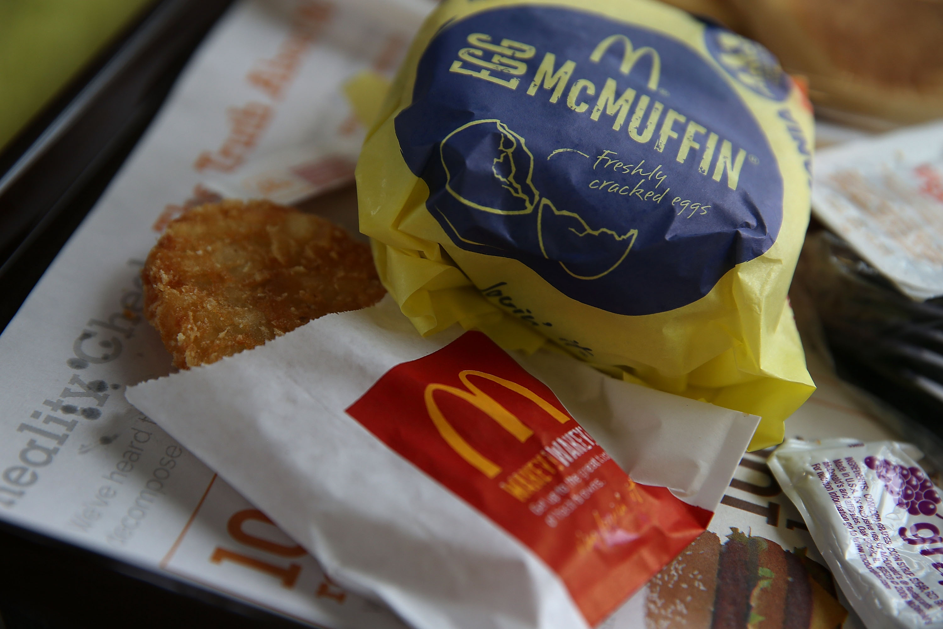 A McDonald's Egg McMuffin and hash browns are displayed at a McDonald's restaurant on July 23, 2015 in Fairfield, California.