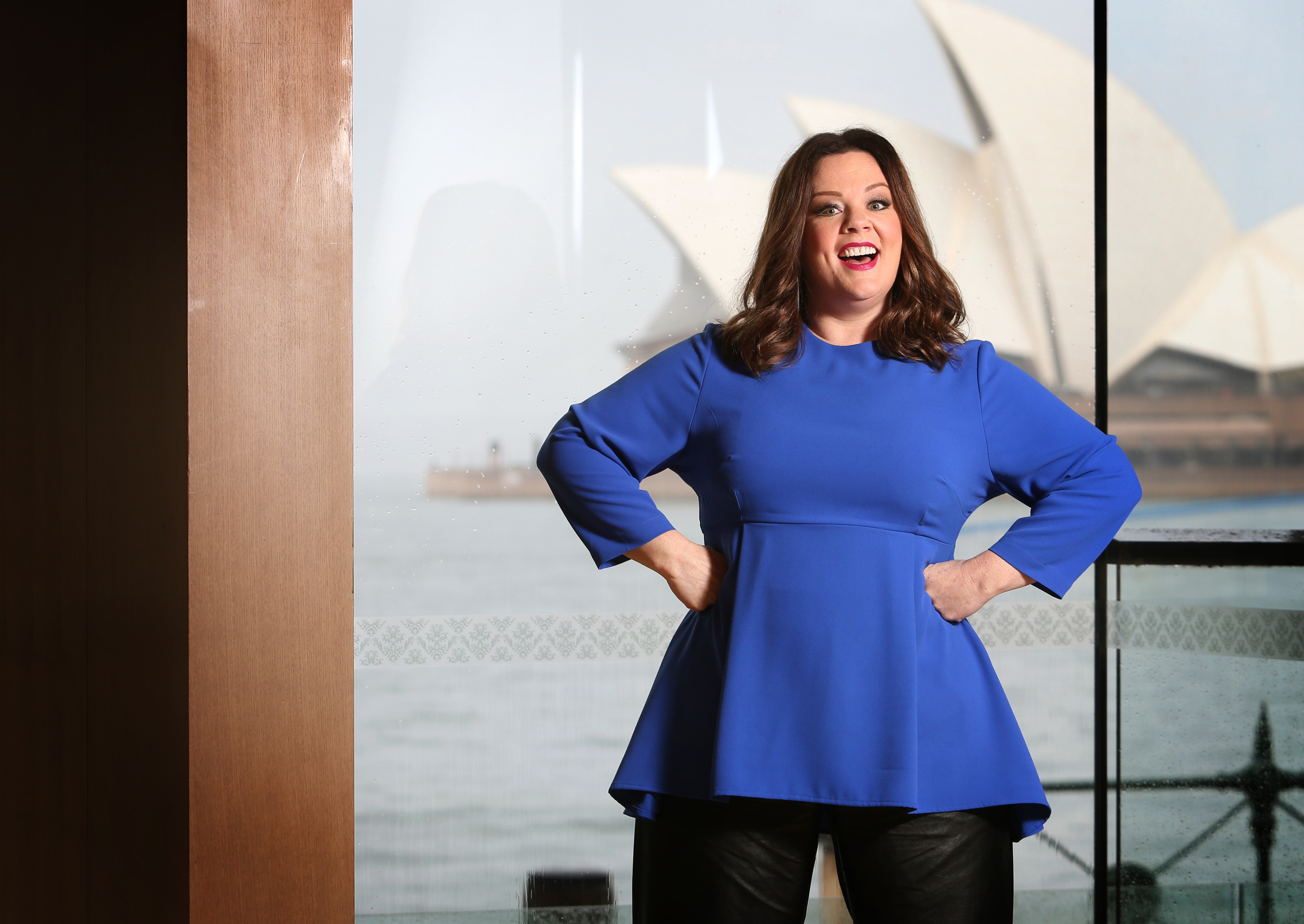 American actress Melissa McCarthy poses during a photo shoot at the Park Hyatt Hotel in Sydney, New South Wales ahead of the premiere of her new film 'The Boss'.
