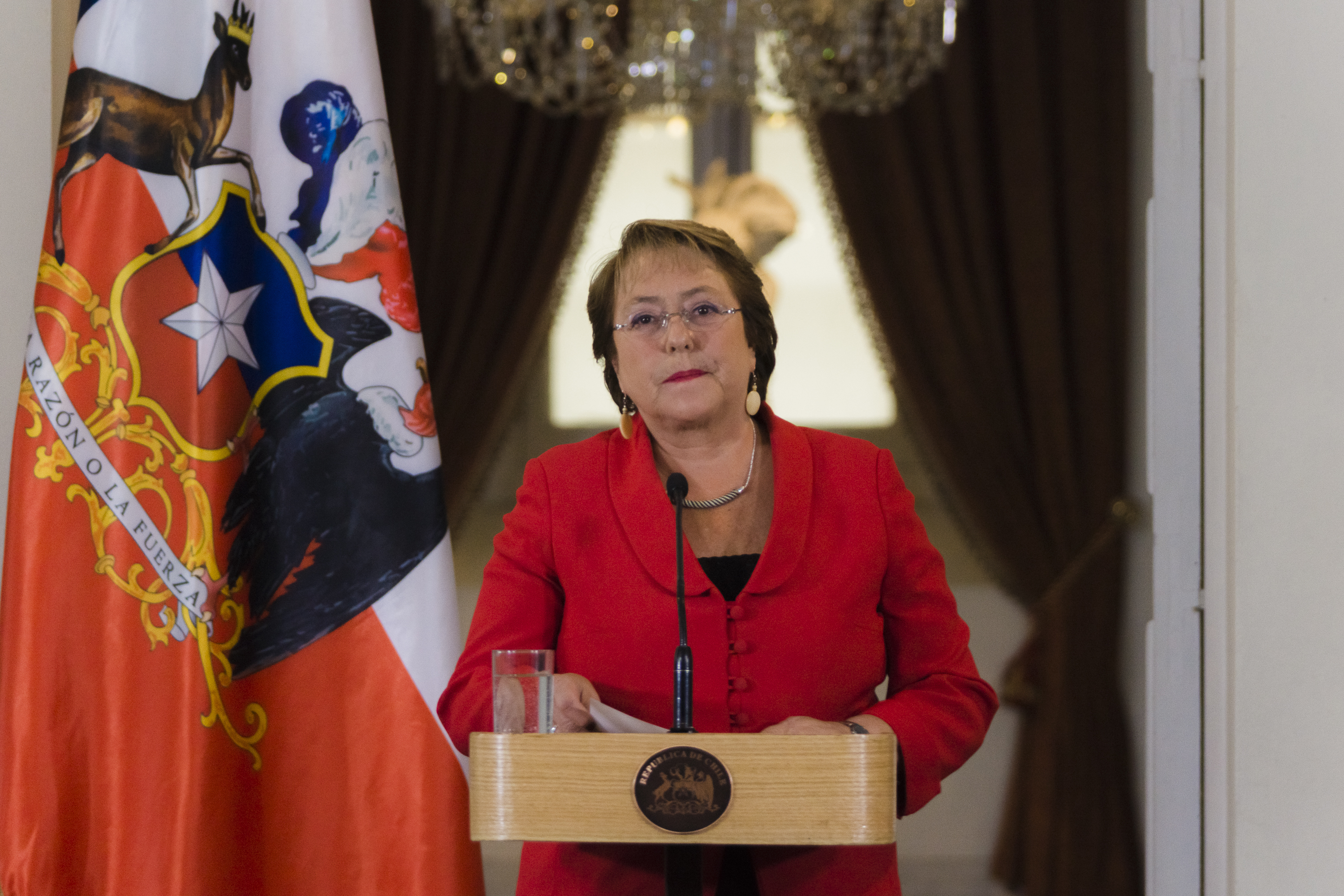 President Michelle Bachelet speaks during a press conference in Santiago, Chile, on Jan. 29, 2016.
