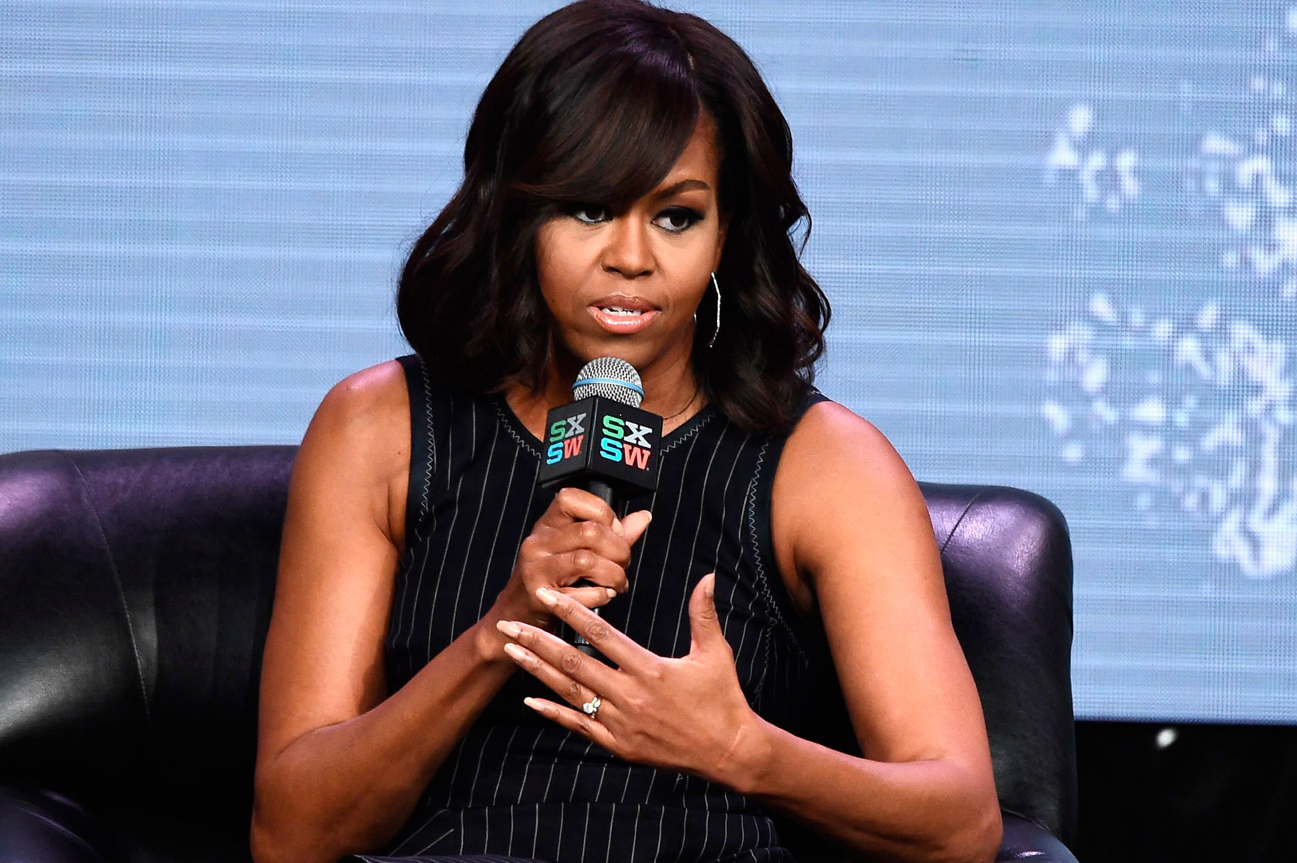Michelle Obama delivers a keynote speech at the SXSW Festival in Austin, Texas, March 16, 2016.