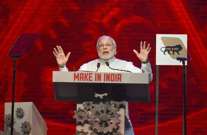 Modi speaks at the opening ceremony for Make In India Week in Mumbai on Feb. 13