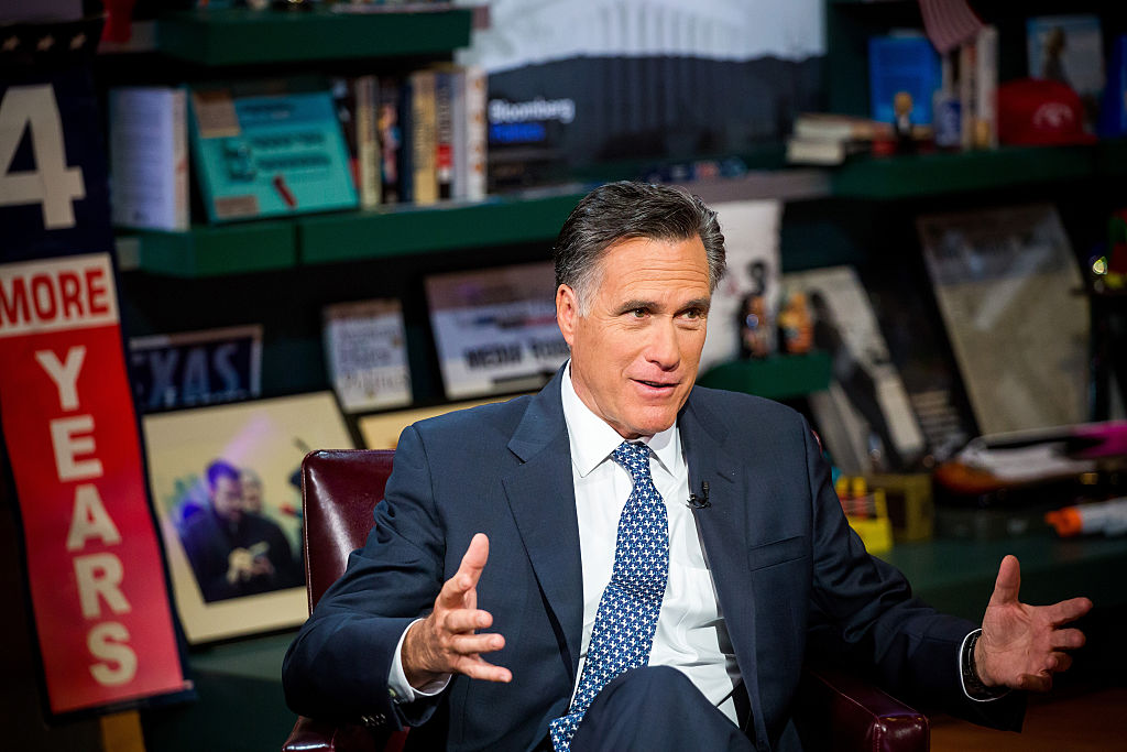 Mitt Romney, former governor of Massachusetts and former 2012 Republican presidential nominee, speaks during a Bloomberg Television interview in New York on March 4, 2016.
