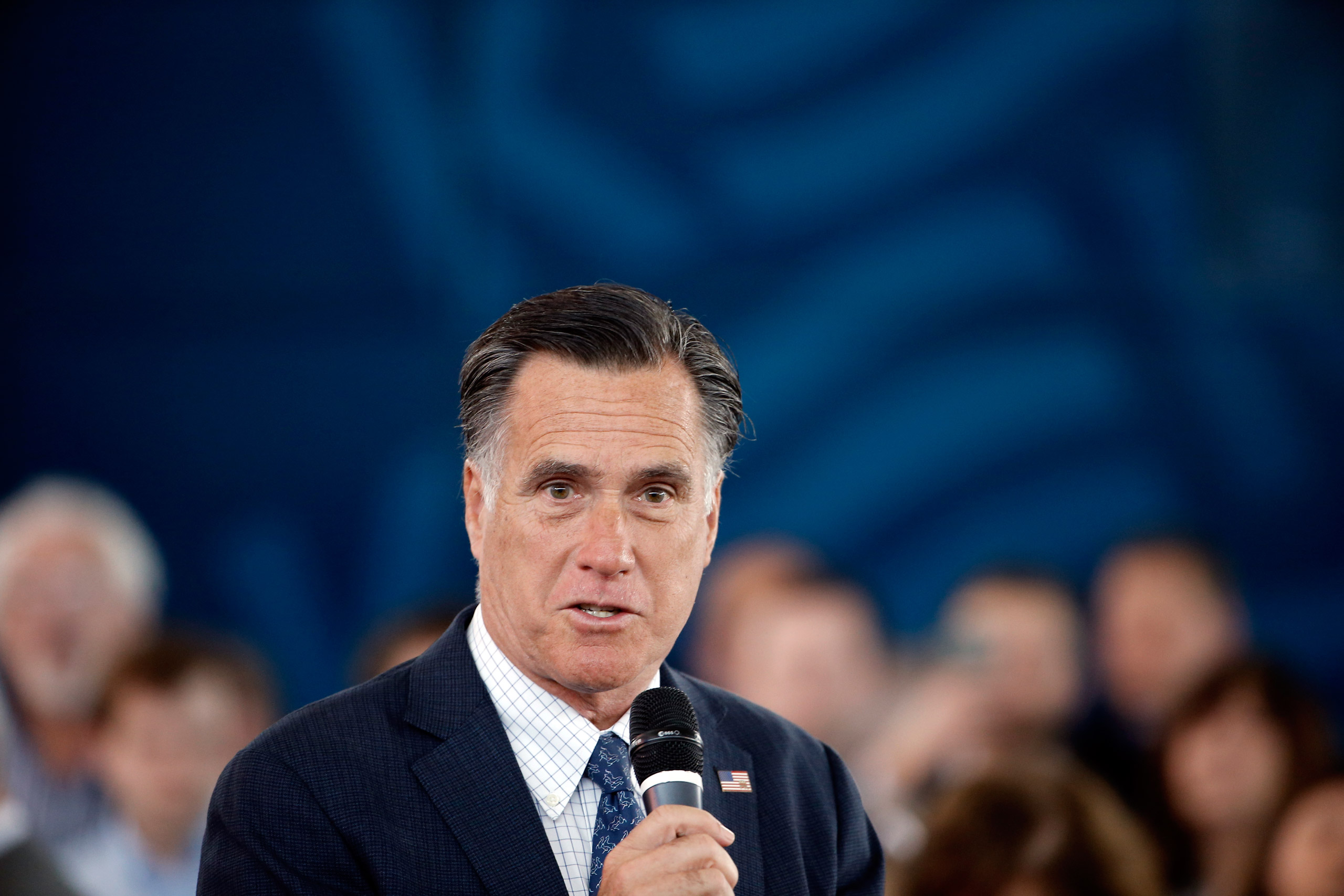 Mitt Romney speaks during Republican presidential candidate, Ohio Gov. John Kasich's campaign stop at the MAPS Air Museum in North Canton, Ohio, on Mar. 14, 2016.
